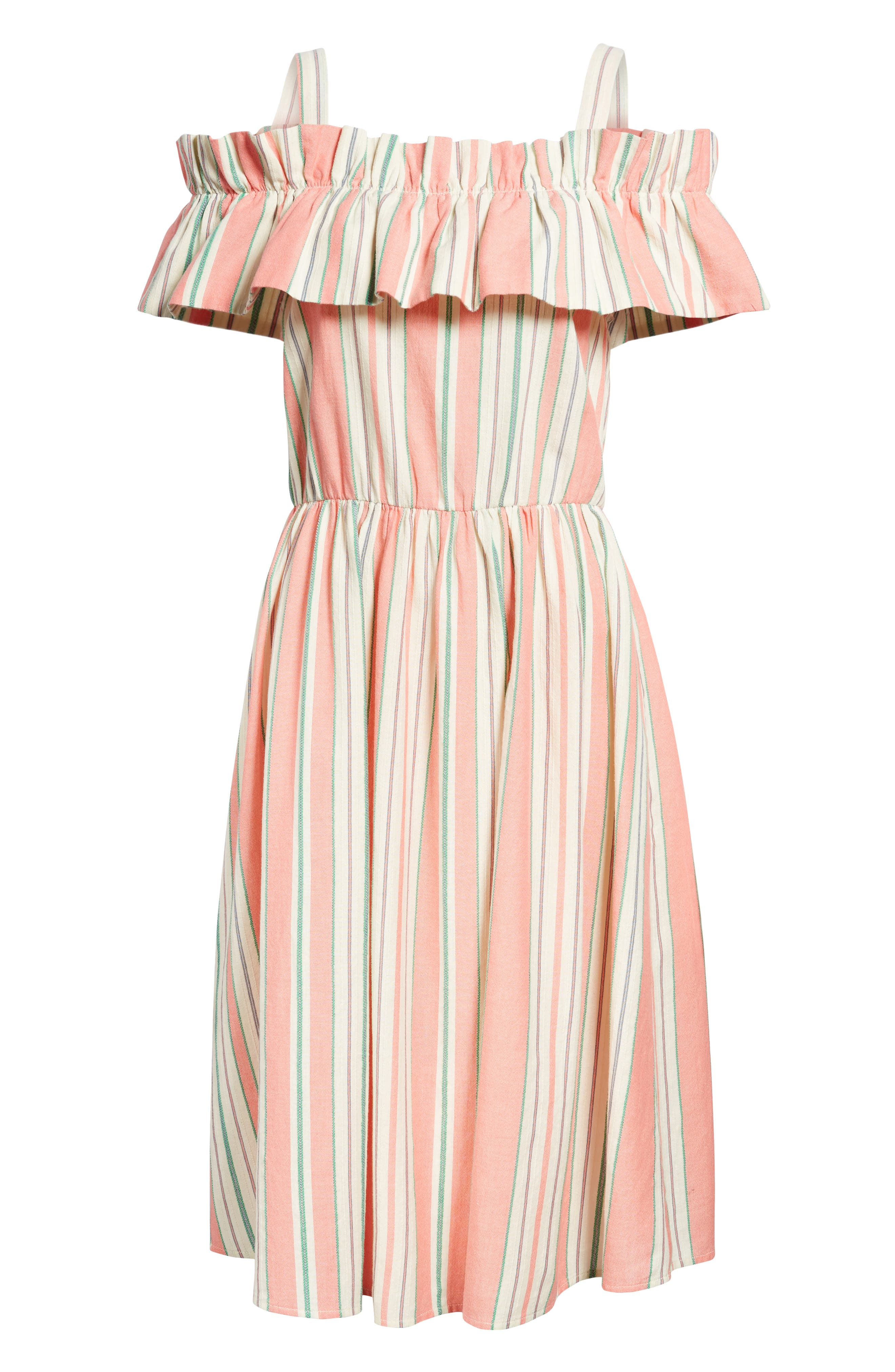 Stripe Ruffle Cold Shoulder Dress,                             Alternate thumbnail 6, color,                             Coral Amber Bold Stripe