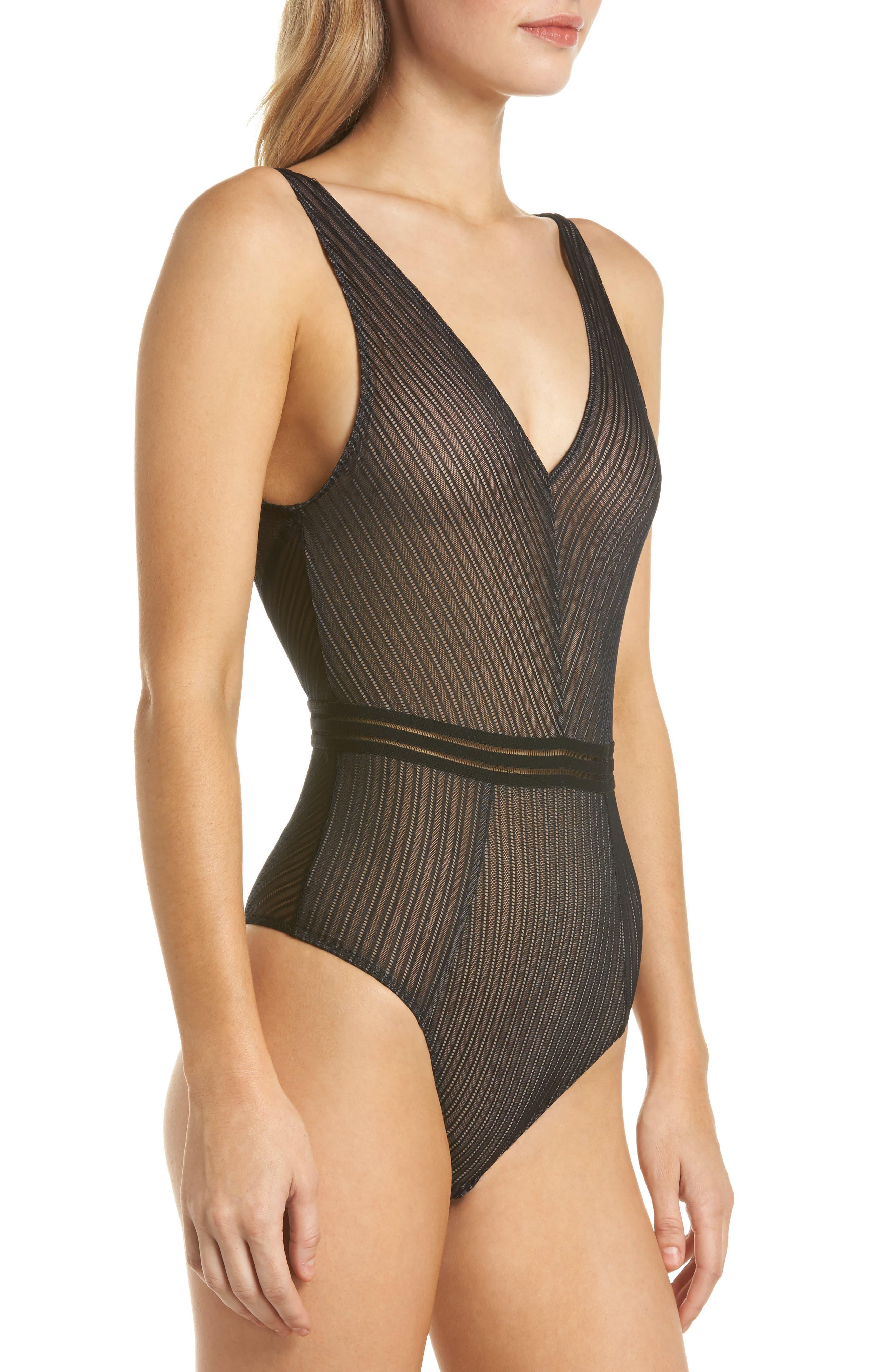 Arabella Thong Bodysuit,                             Alternate thumbnail 3, color,                             Black