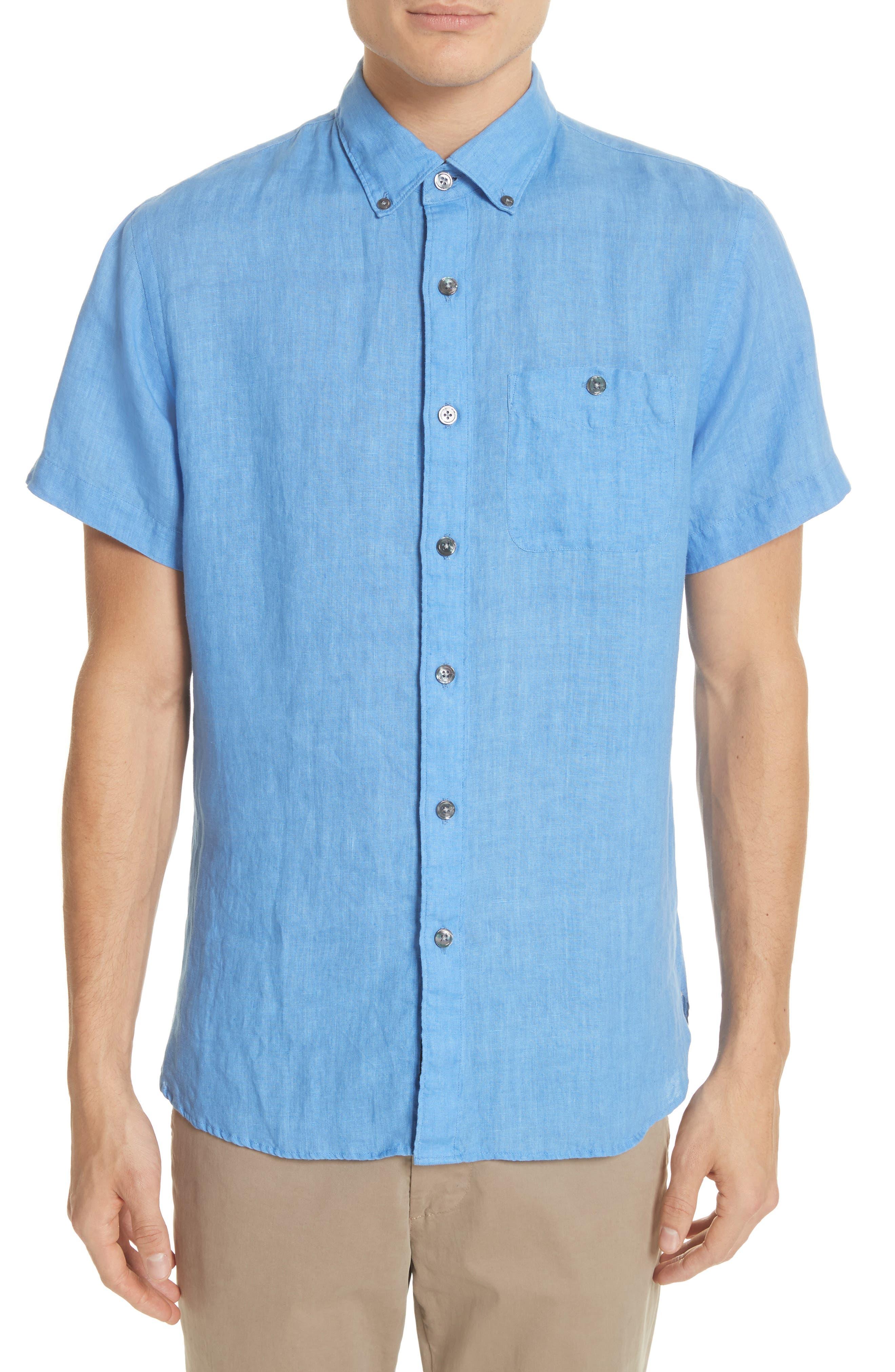 Short Sleeve Woven Linen Shirt,                         Main,                         color, Blue