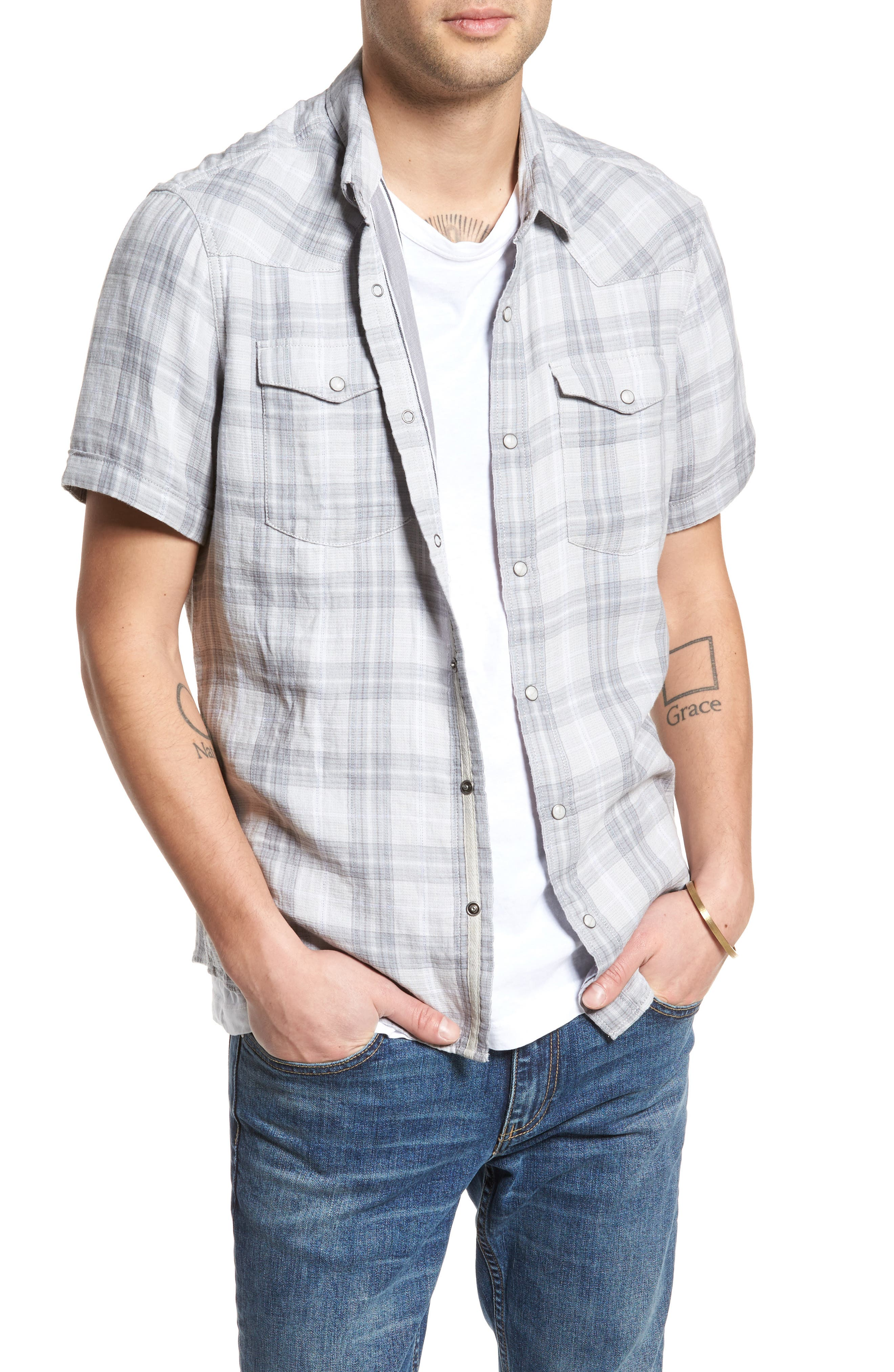Plaid Short Sleeve Sport Shirt,                         Main,                         color, Grey Sleet Plaid Duofold