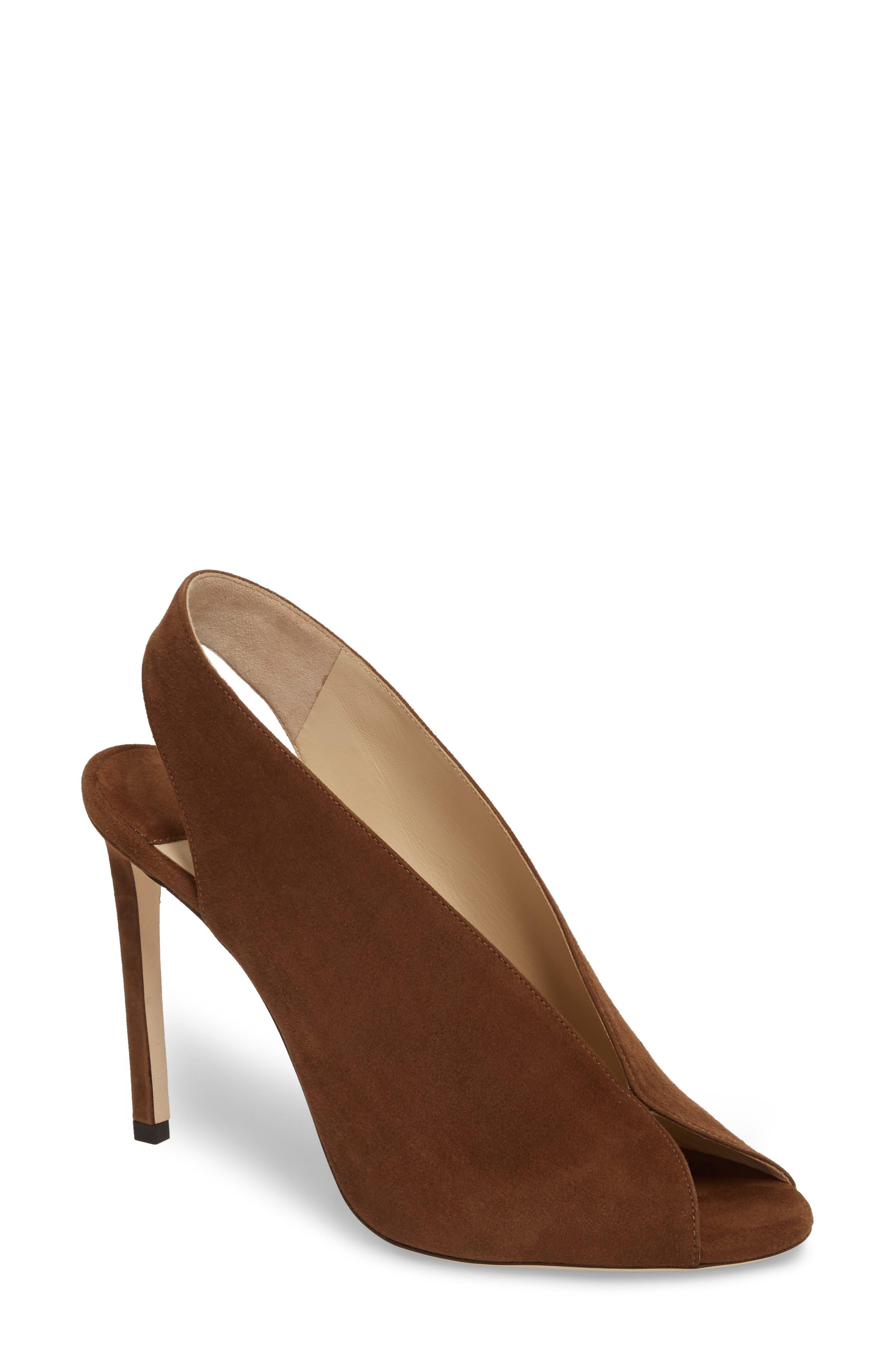Shar Peep Toe Slingback Pump,                             Main thumbnail 1, color,                             Cacao Brown