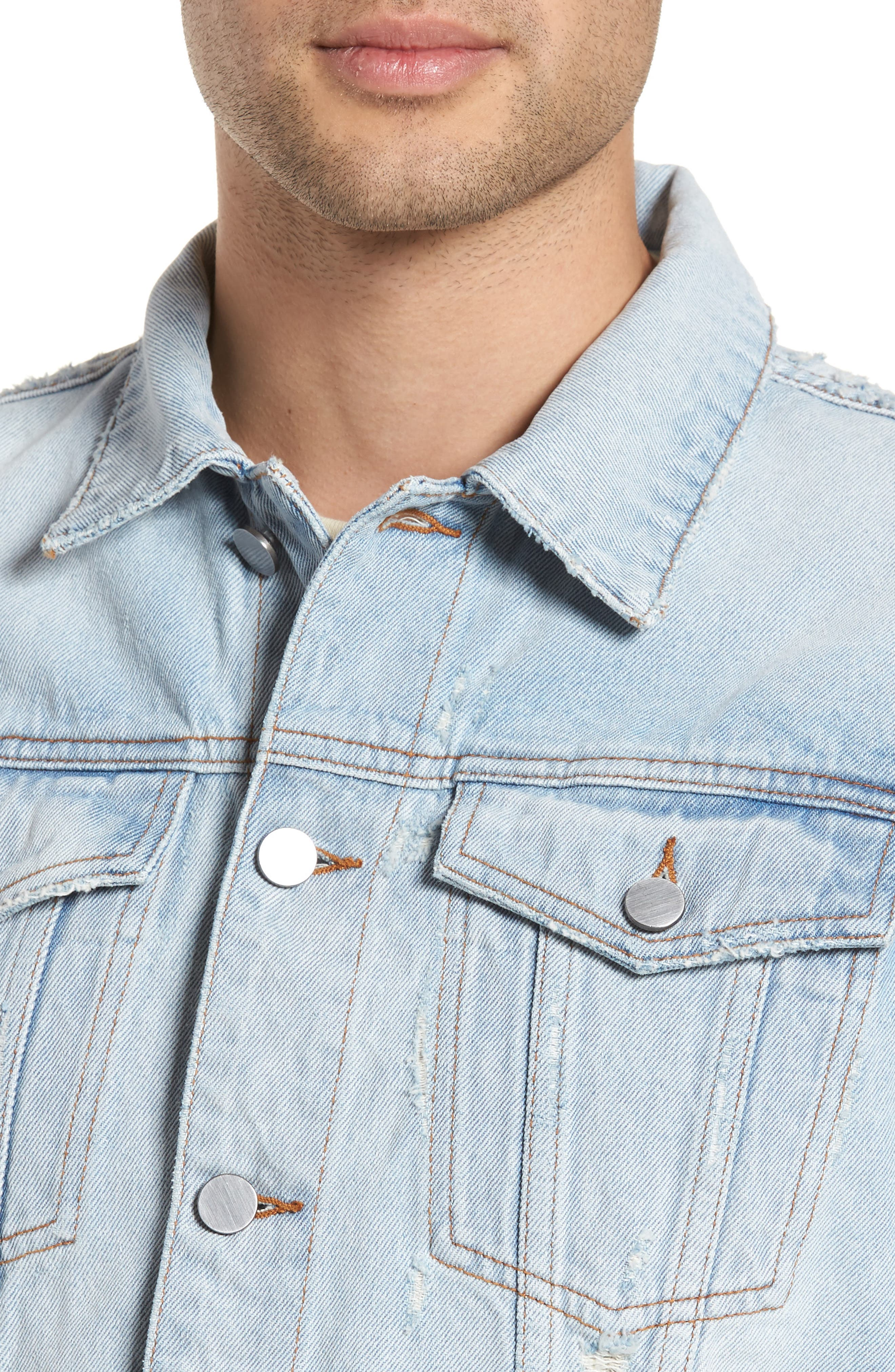 Destroyed Trucker Jacket,                             Alternate thumbnail 4, color,                             Light Blue Wash