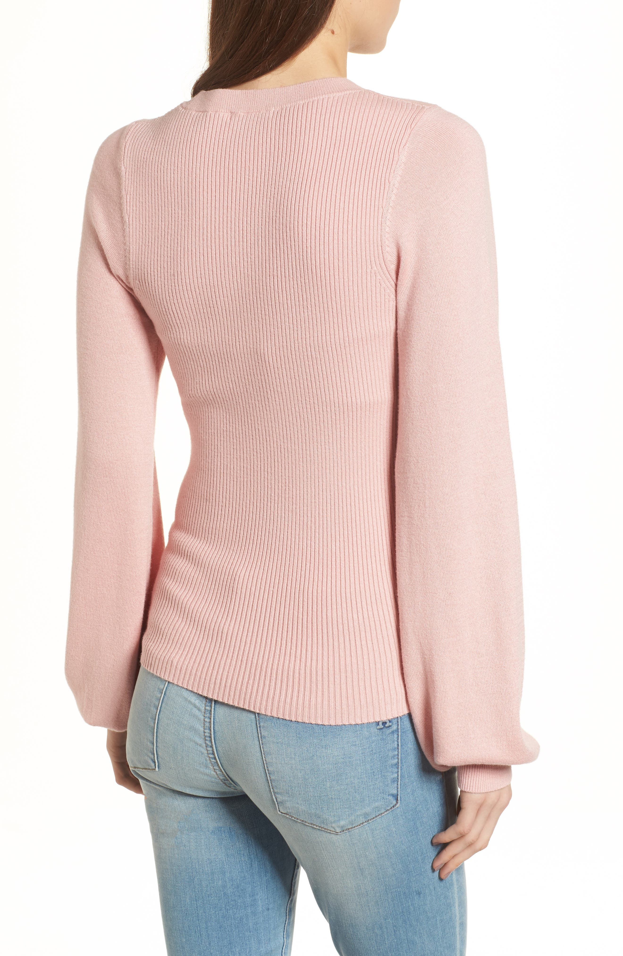 Corset Knit Sweater,                             Alternate thumbnail 2, color,                             Pink Silver