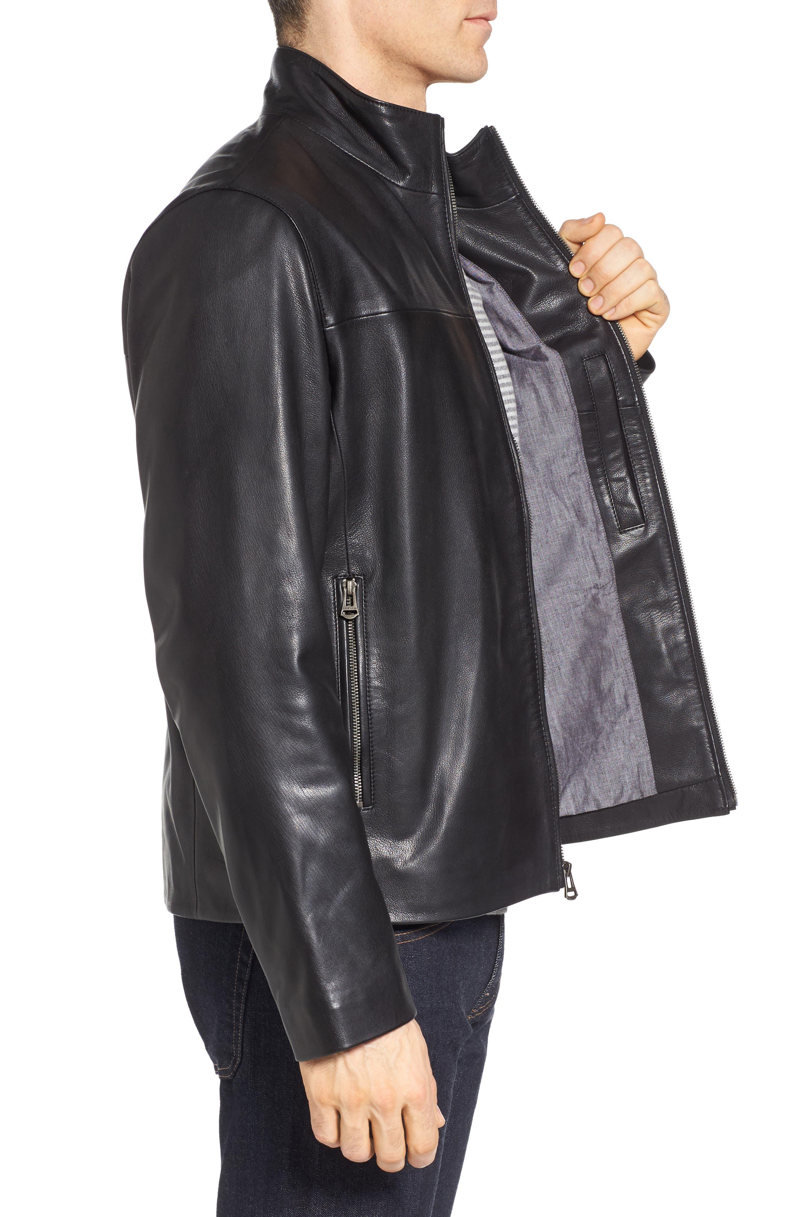 Washed Leather Jacket,                             Alternate thumbnail 3, color,                             Black