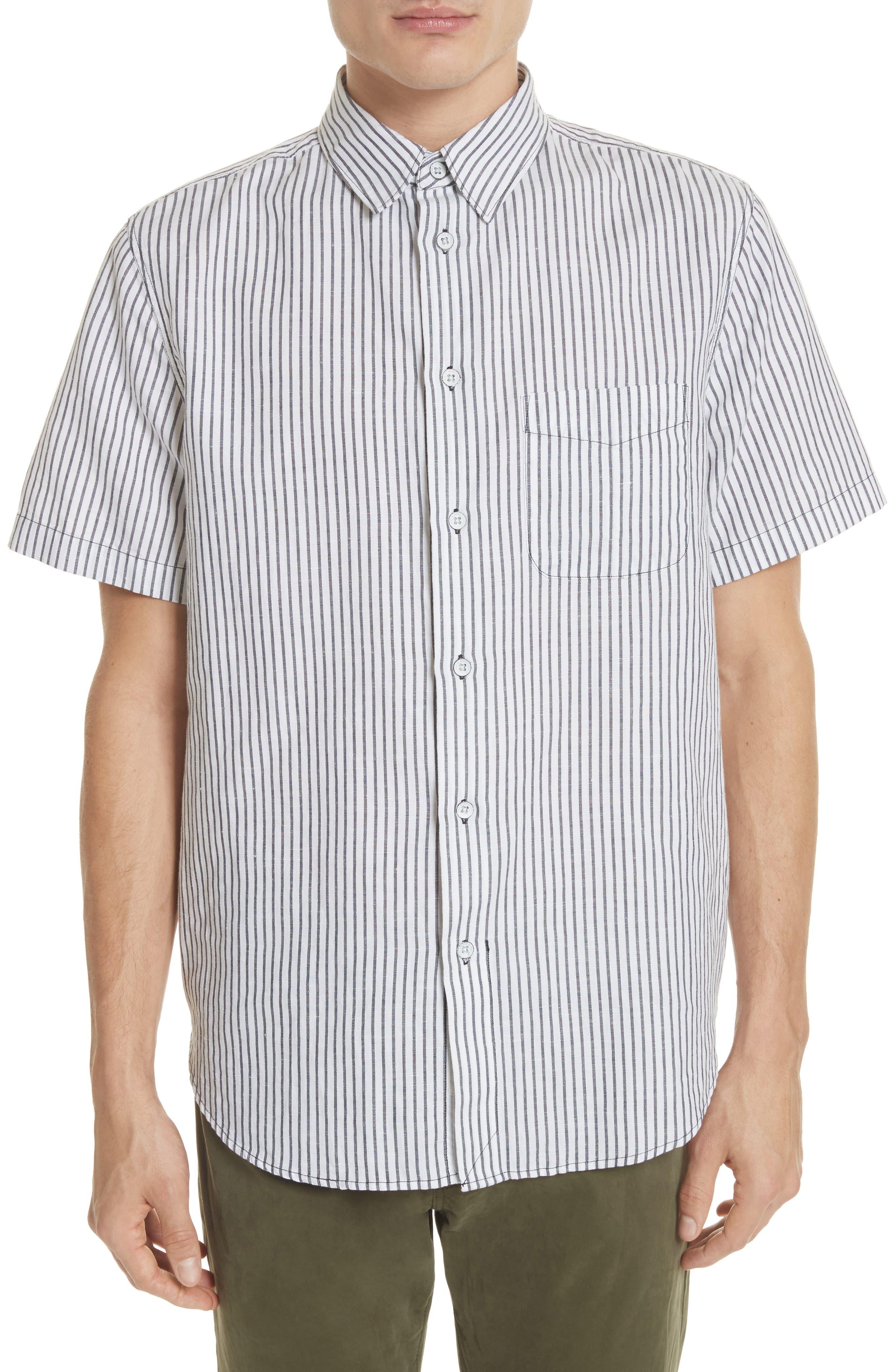 Stripe Short Sleeve Sport Shirt,                             Main thumbnail 1, color,                             White/Navy