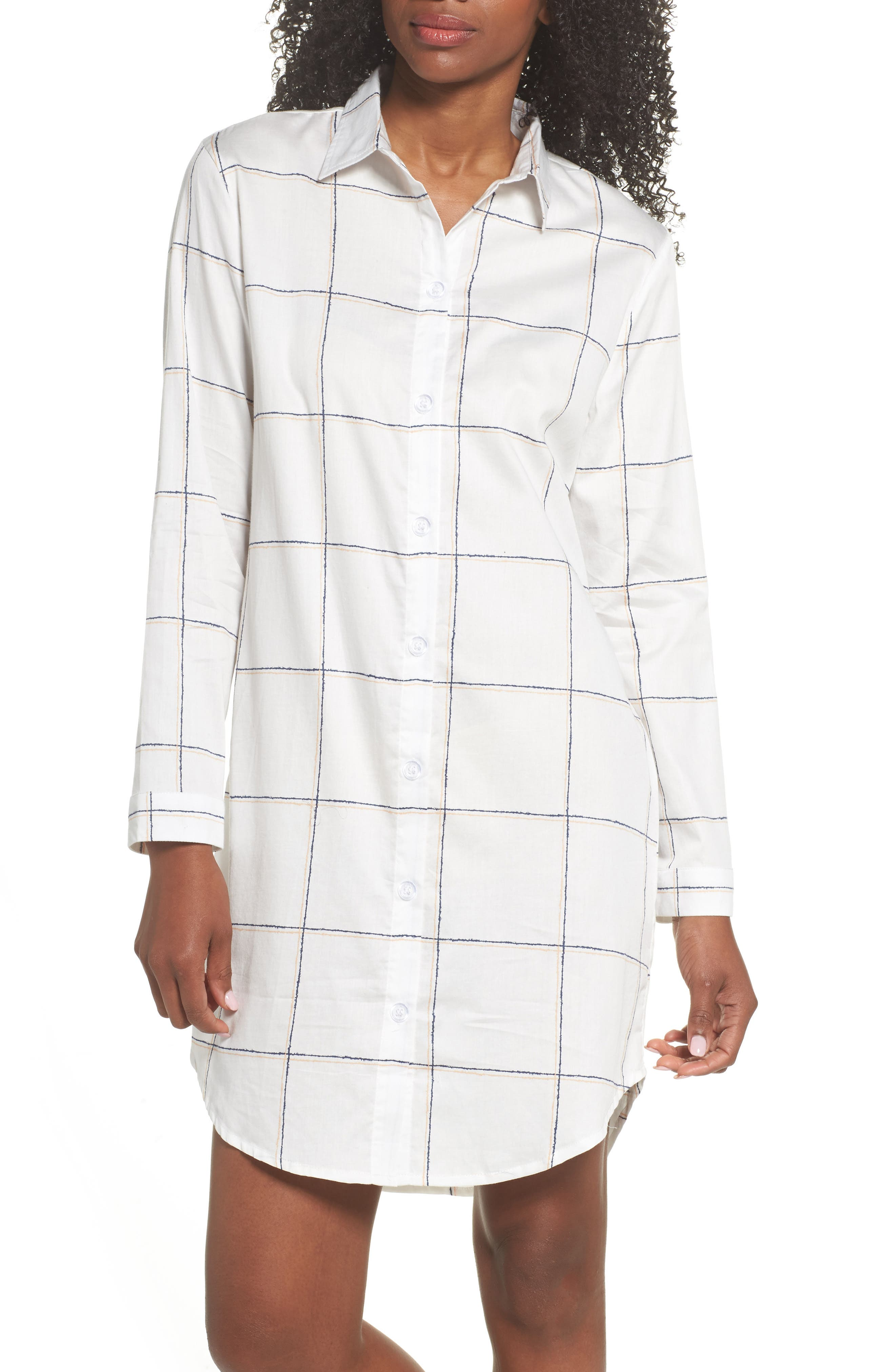 Evey Nightshirt,                         Main,                         color, Coffee Check White