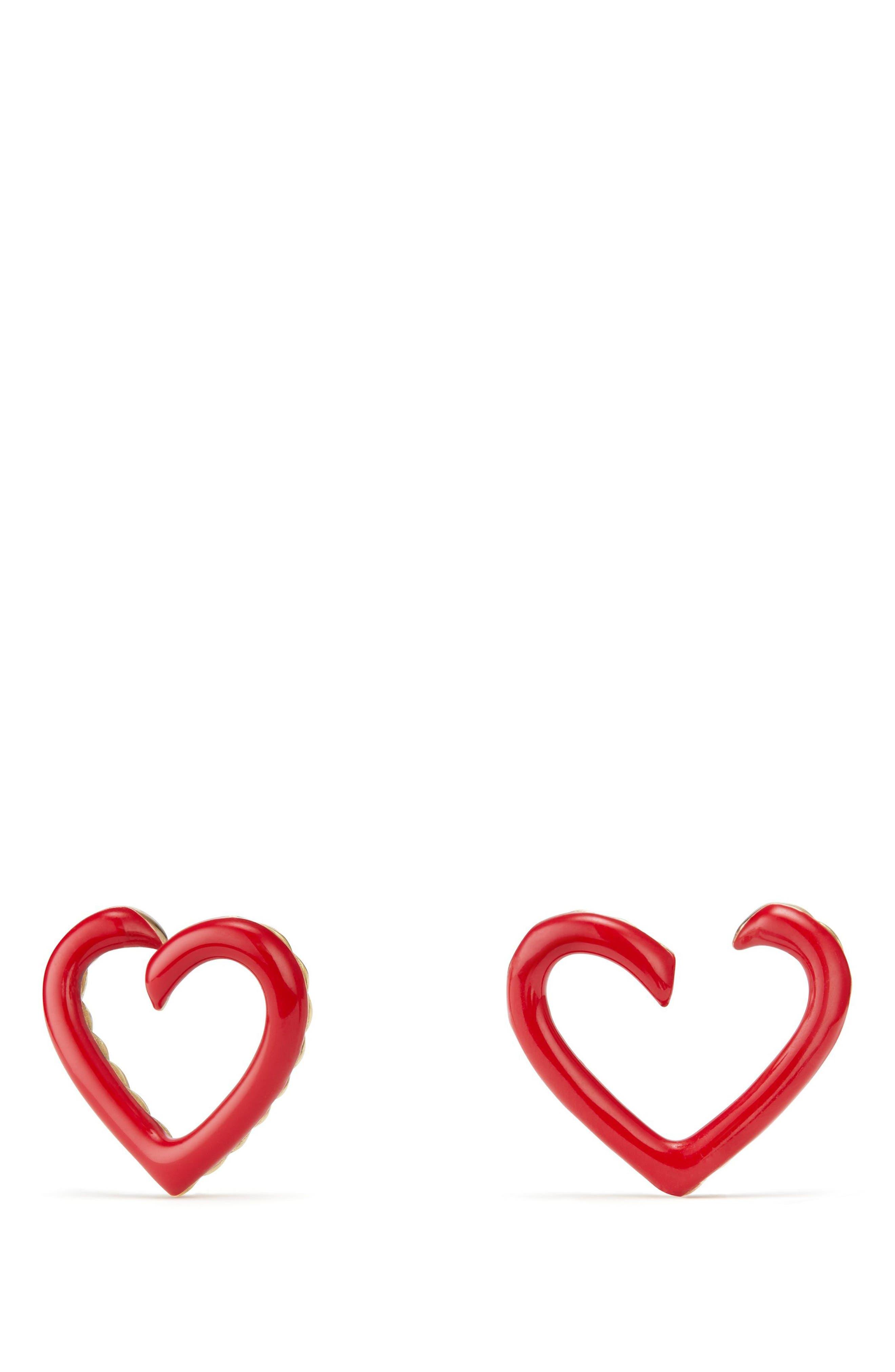 David Yurman Cable Heart Earrings in Red Enamel and 18K Gold