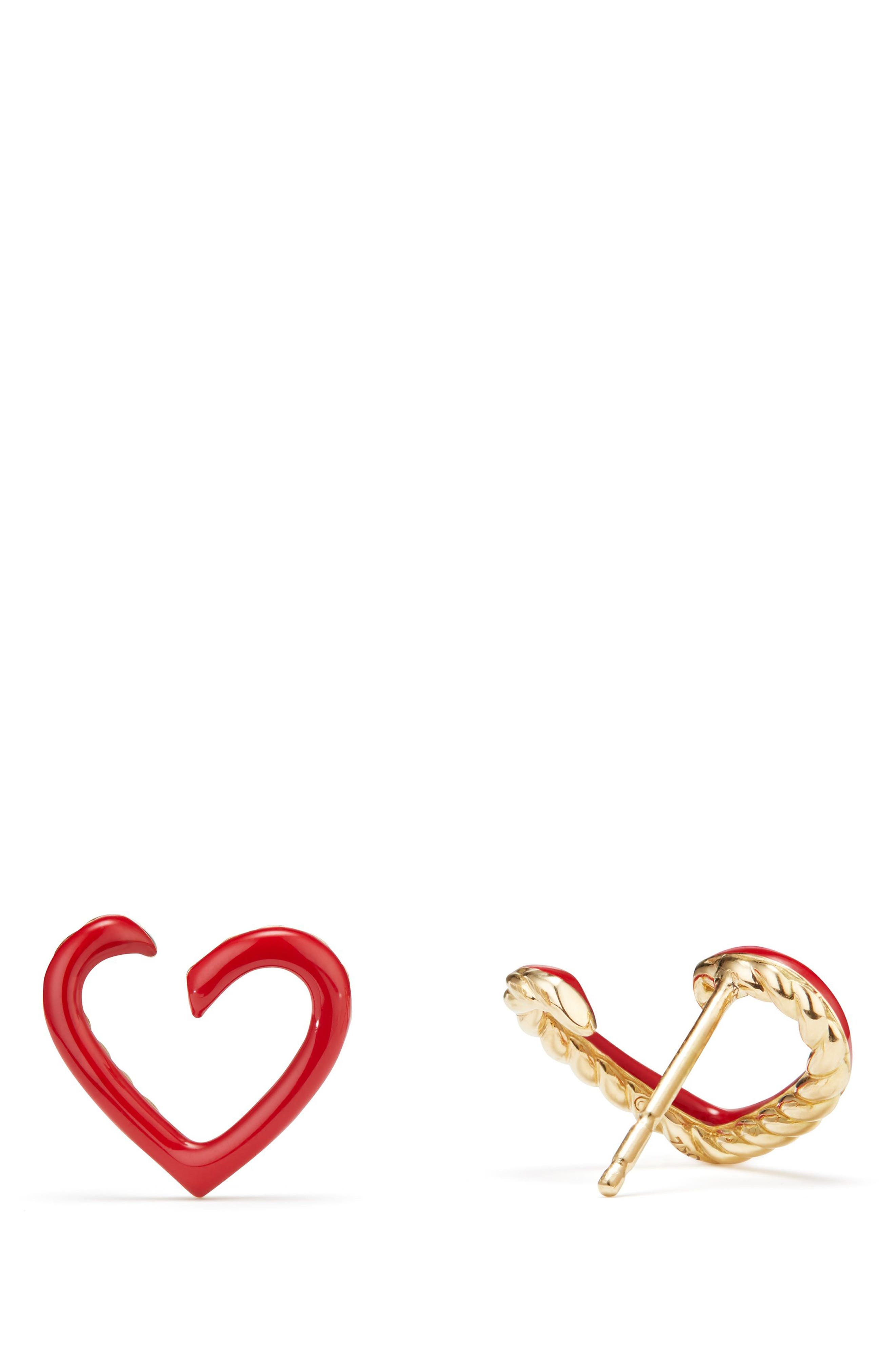 Cable Heart Earrings in Red Enamel and 18K Gold,                             Alternate thumbnail 2, color,                             Gold/ Red