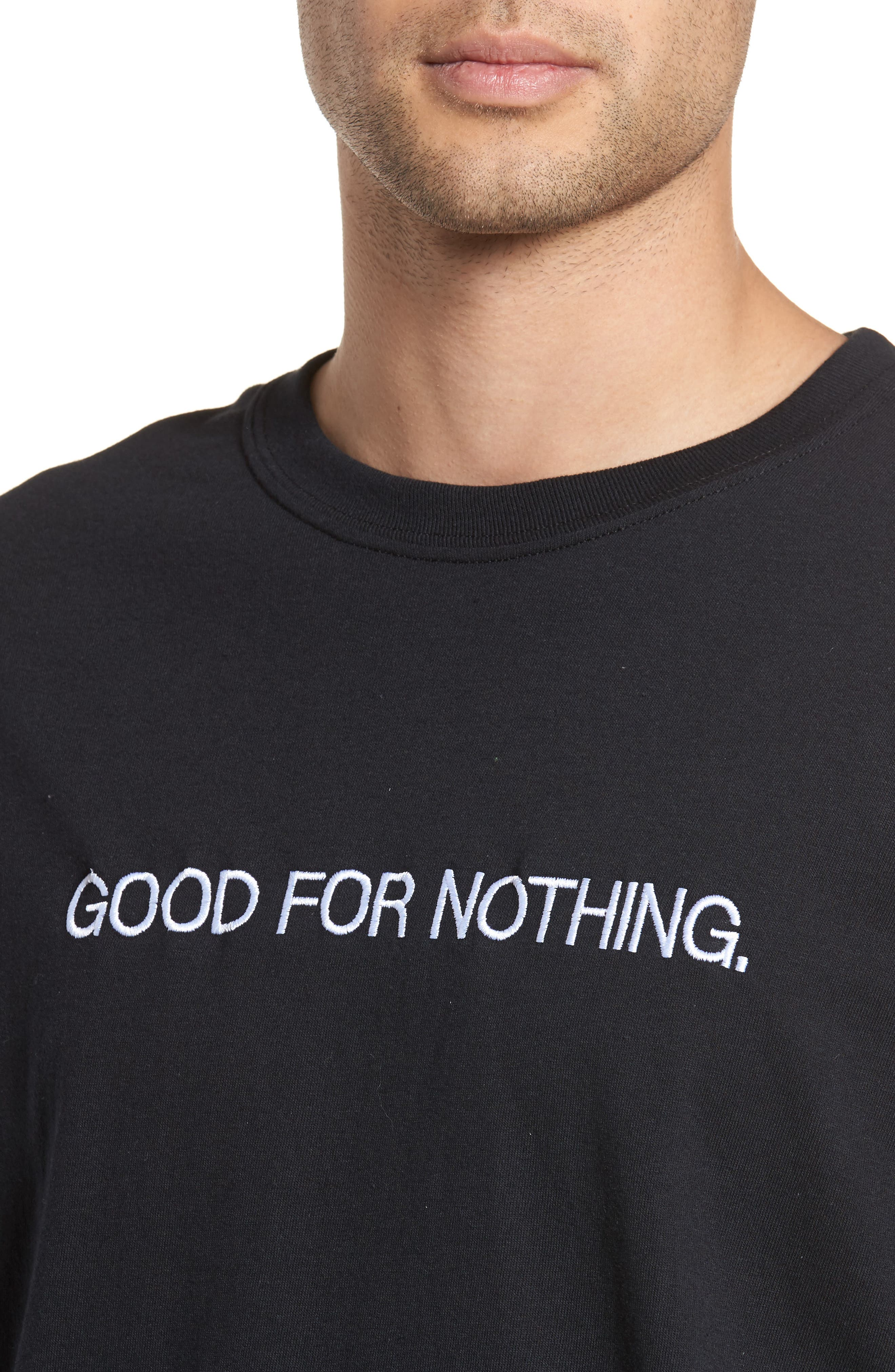Good for Nothing Embroidered T-Shirt,                             Alternate thumbnail 4, color,                             Black Good For