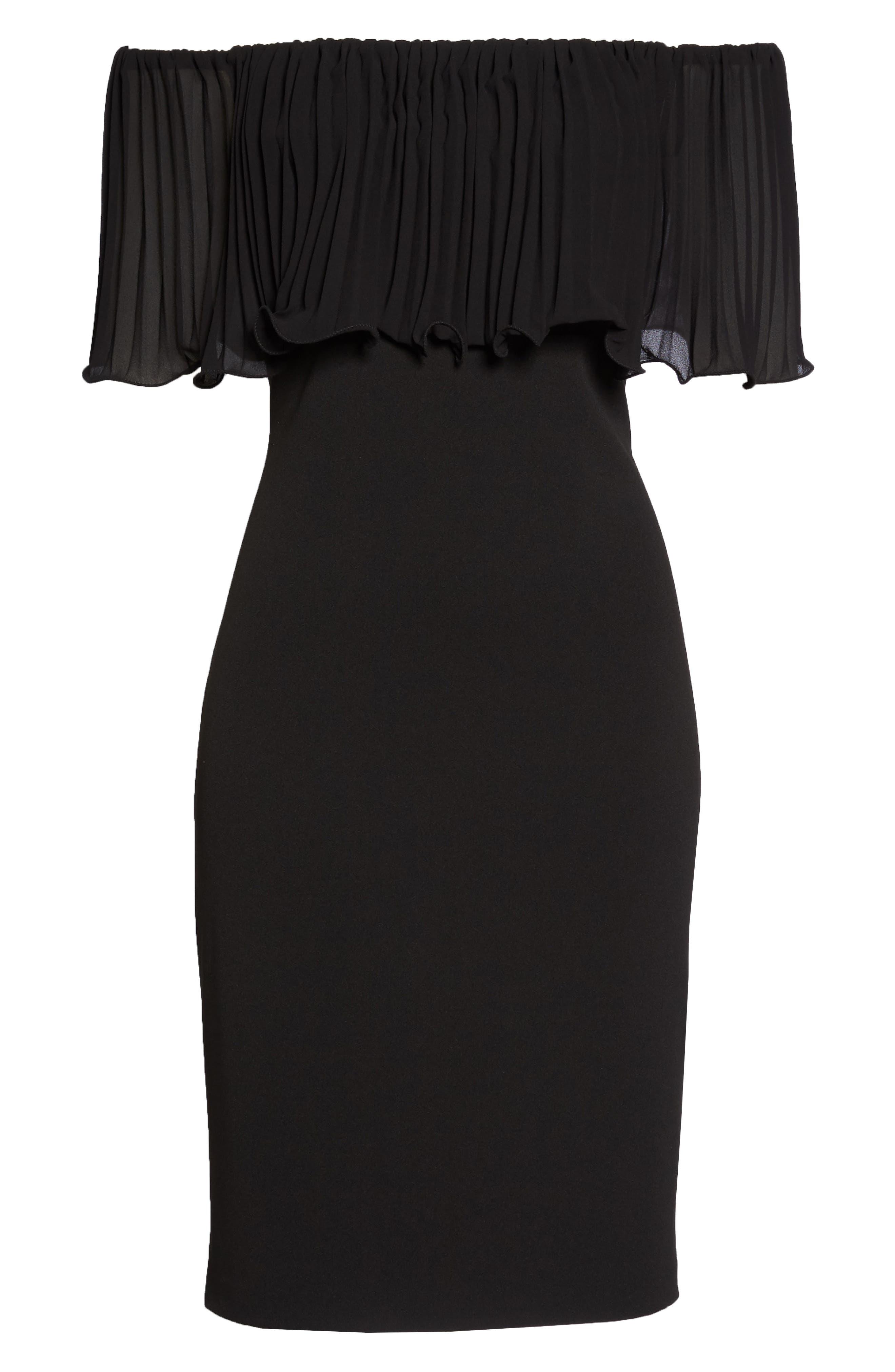 Pleat Ruffle Off the Shoulder Dress,                             Alternate thumbnail 6, color,                             Black