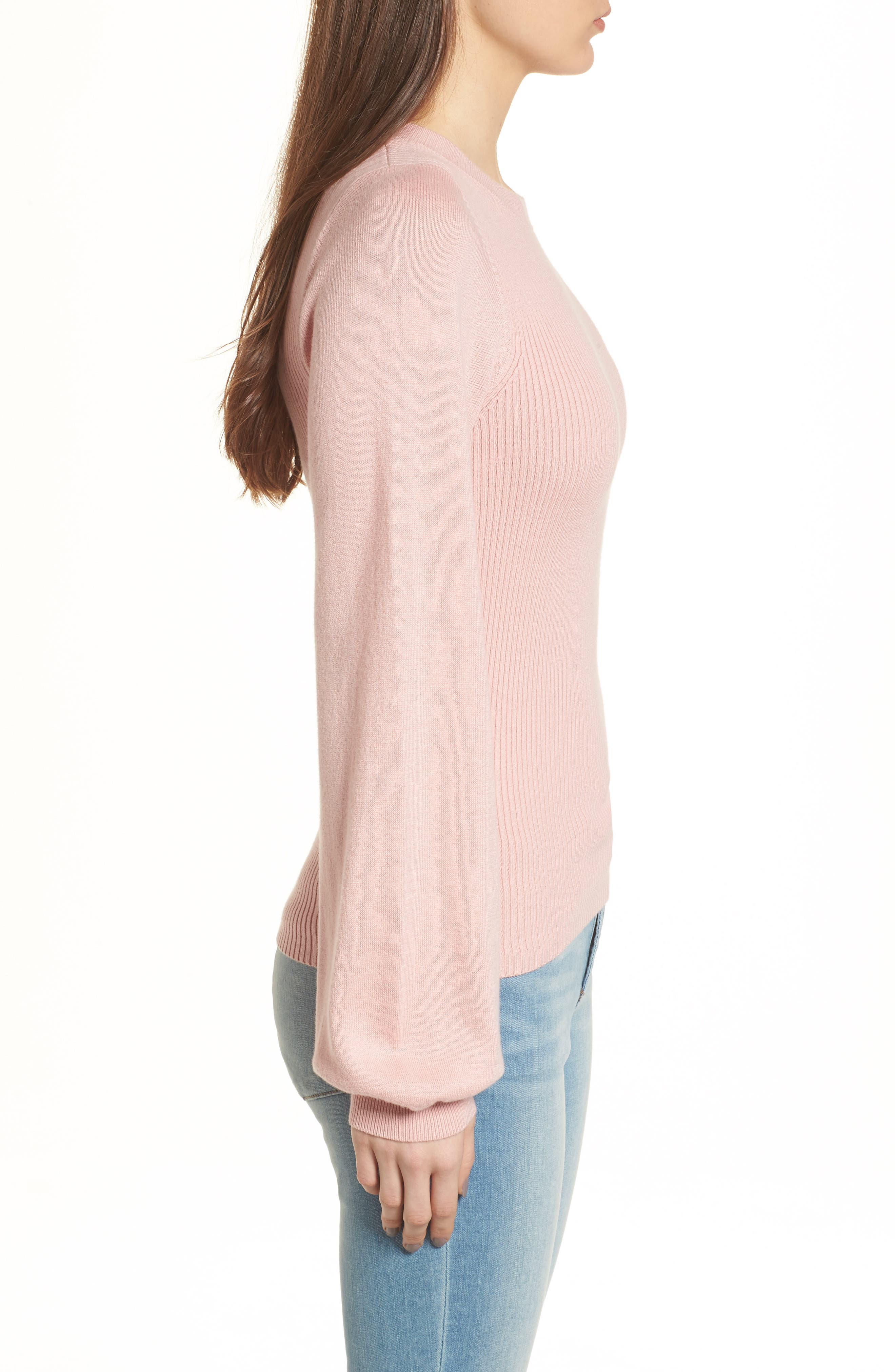 Corset Knit Sweater,                             Alternate thumbnail 3, color,                             Pink Silver