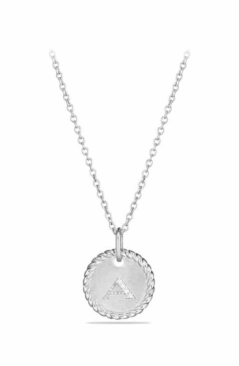 Letter necklace nordstrom david yurman initial charm necklace with diamonds in 18k white gold mozeypictures Choice Image