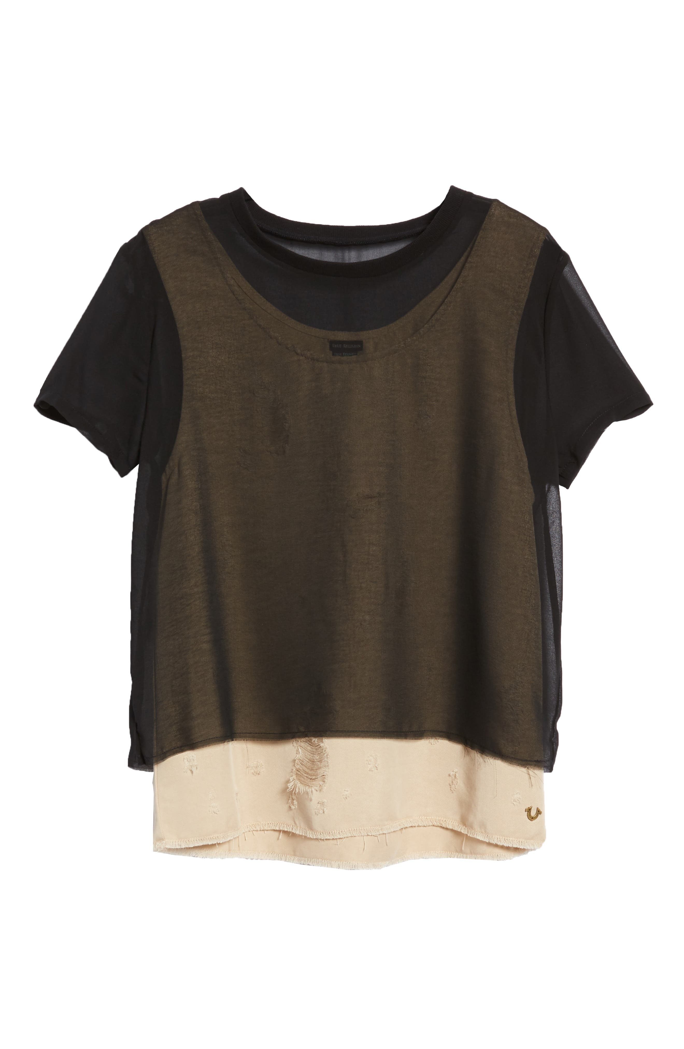 Mixed Media Layered Top,                             Alternate thumbnail 6, color,                             Beige