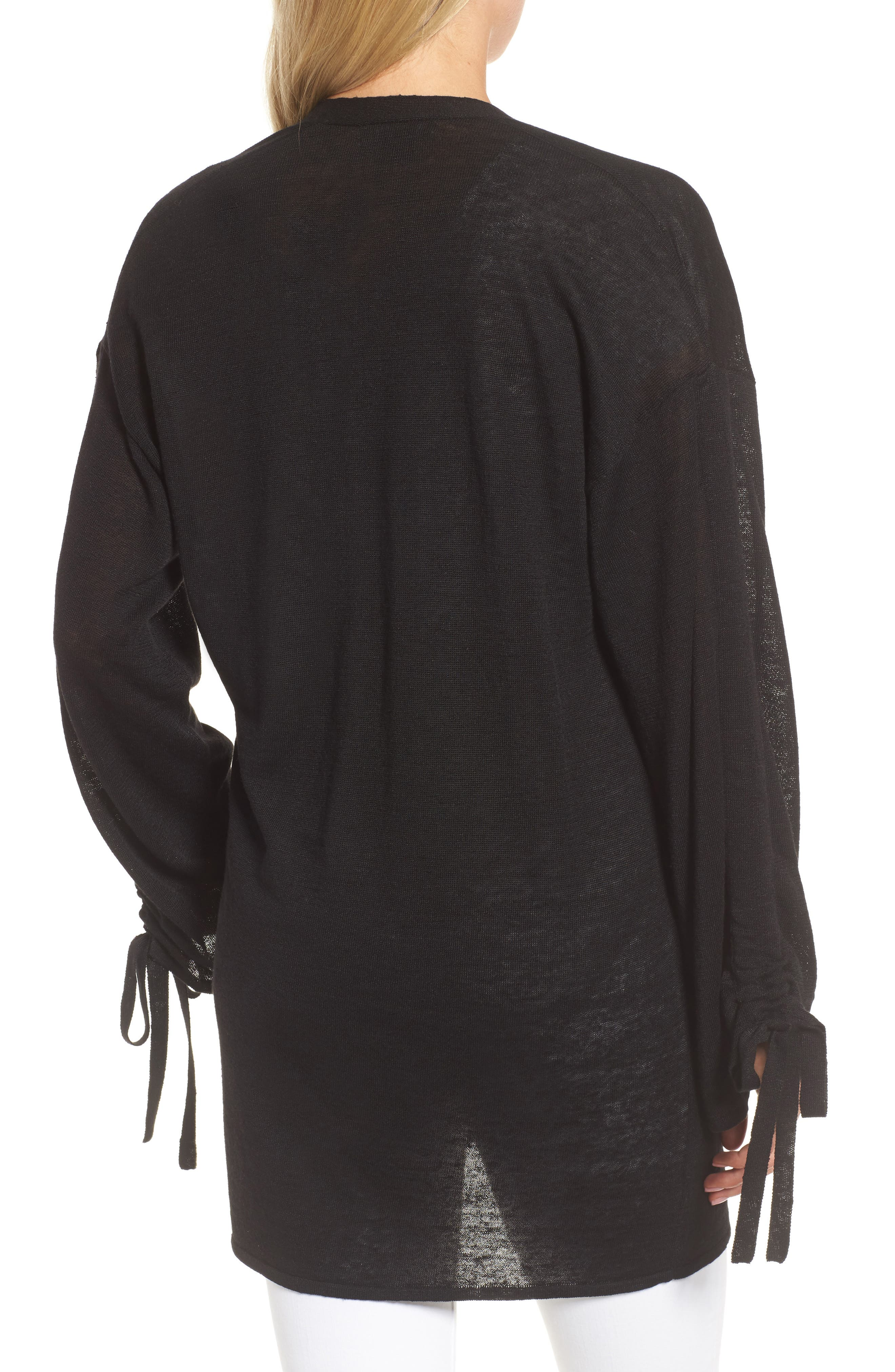 Ruched Sleeve Cardigan,                             Alternate thumbnail 2, color,                             Black