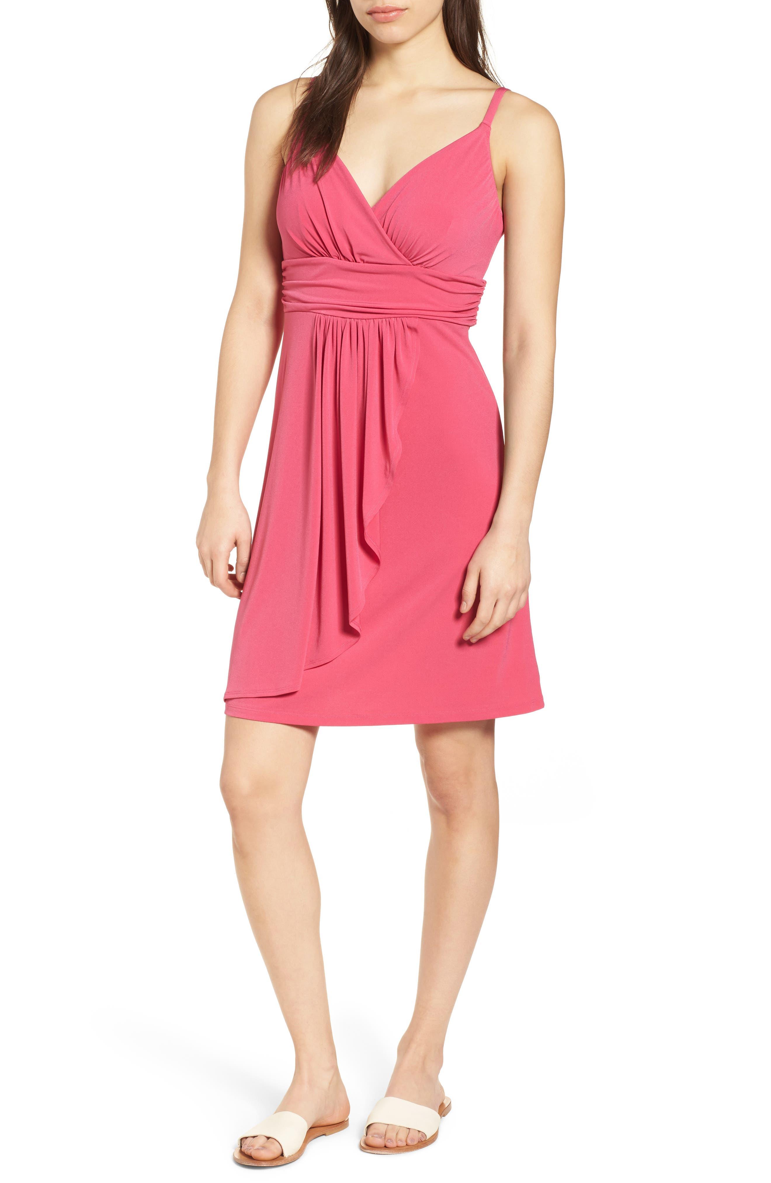 Elenna Stretch Jersey Sundress,                             Main thumbnail 1, color,                             Bright Blush