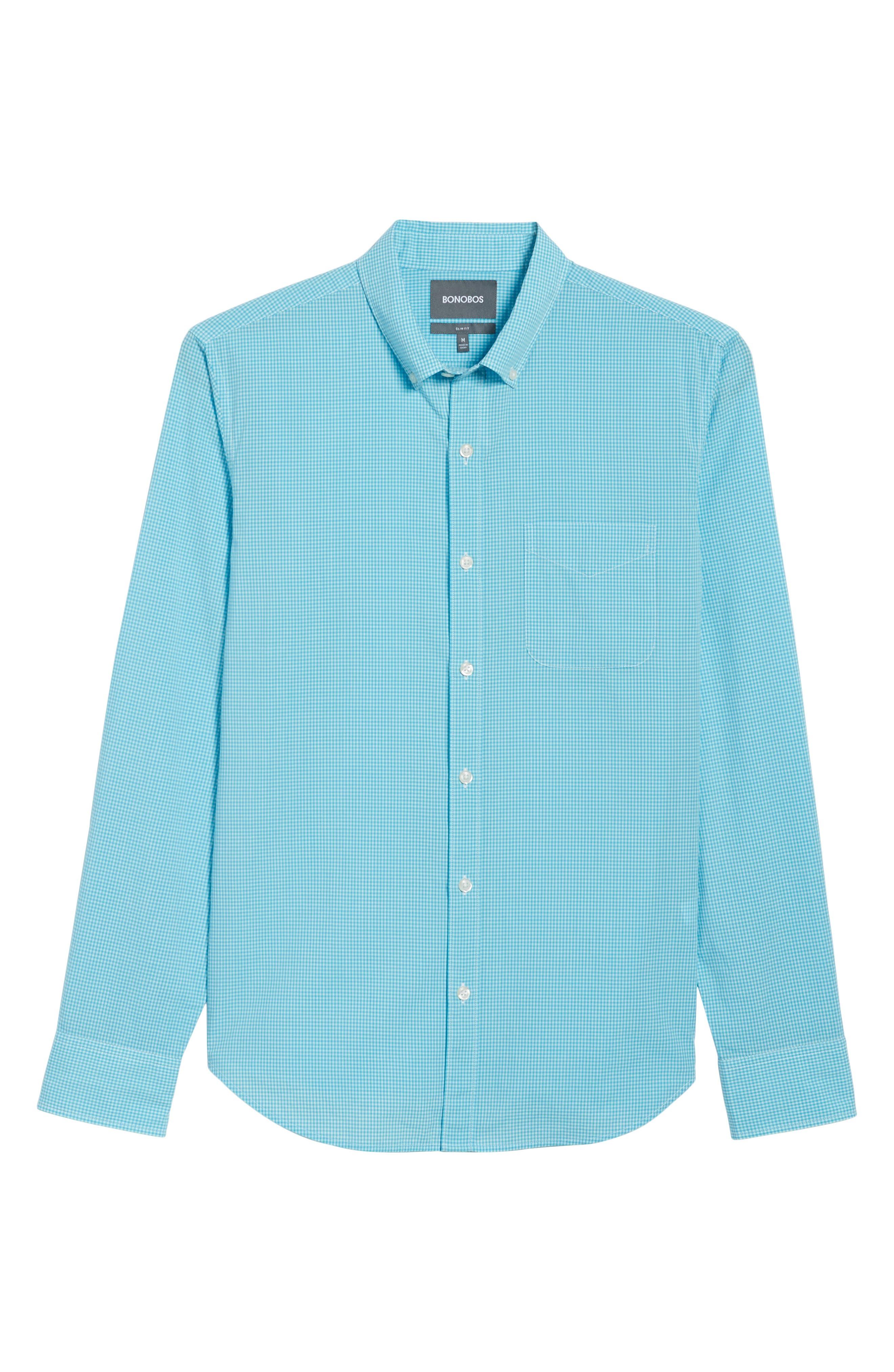 Slim Fit Summerweight Check Sport Shirt,                             Alternate thumbnail 6, color,                             Bondi Gingham - Scuba Blue
