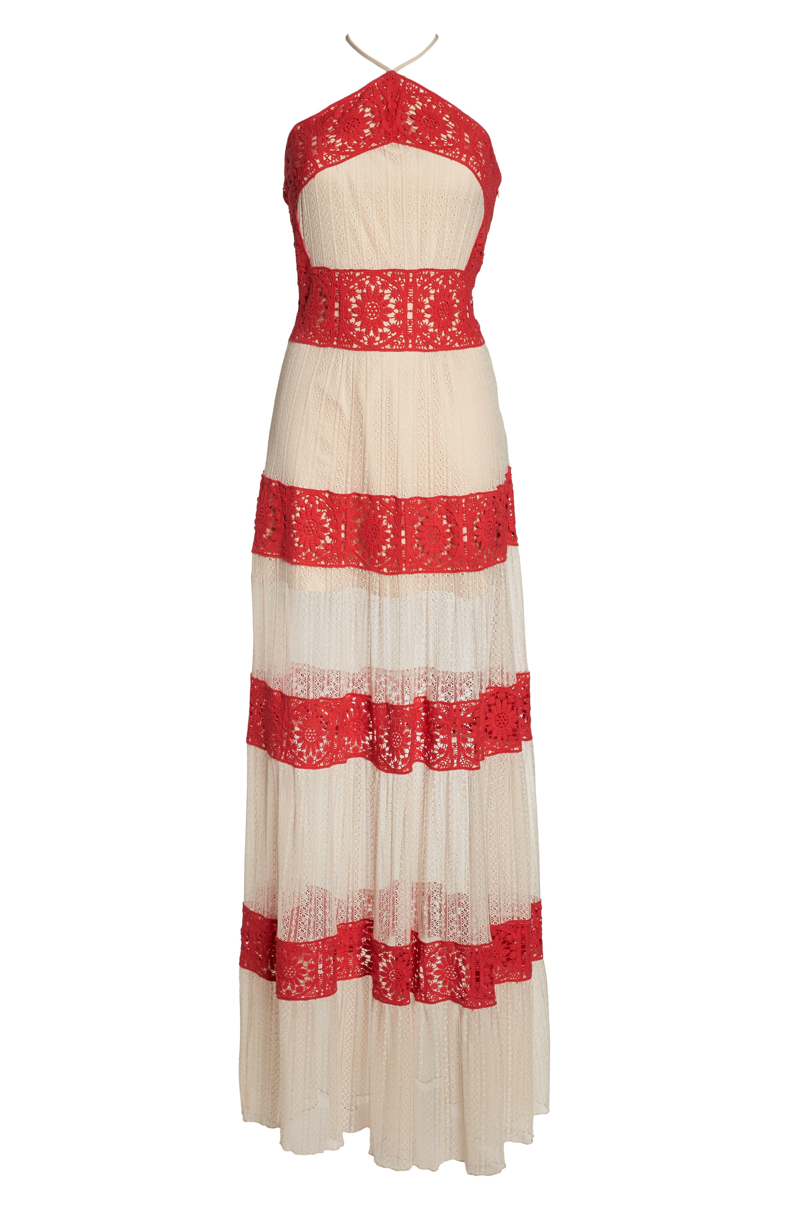 Ophelia Two-Tone Lace Maxi Dress,                             Alternate thumbnail 6, color,                             Red/ Nude