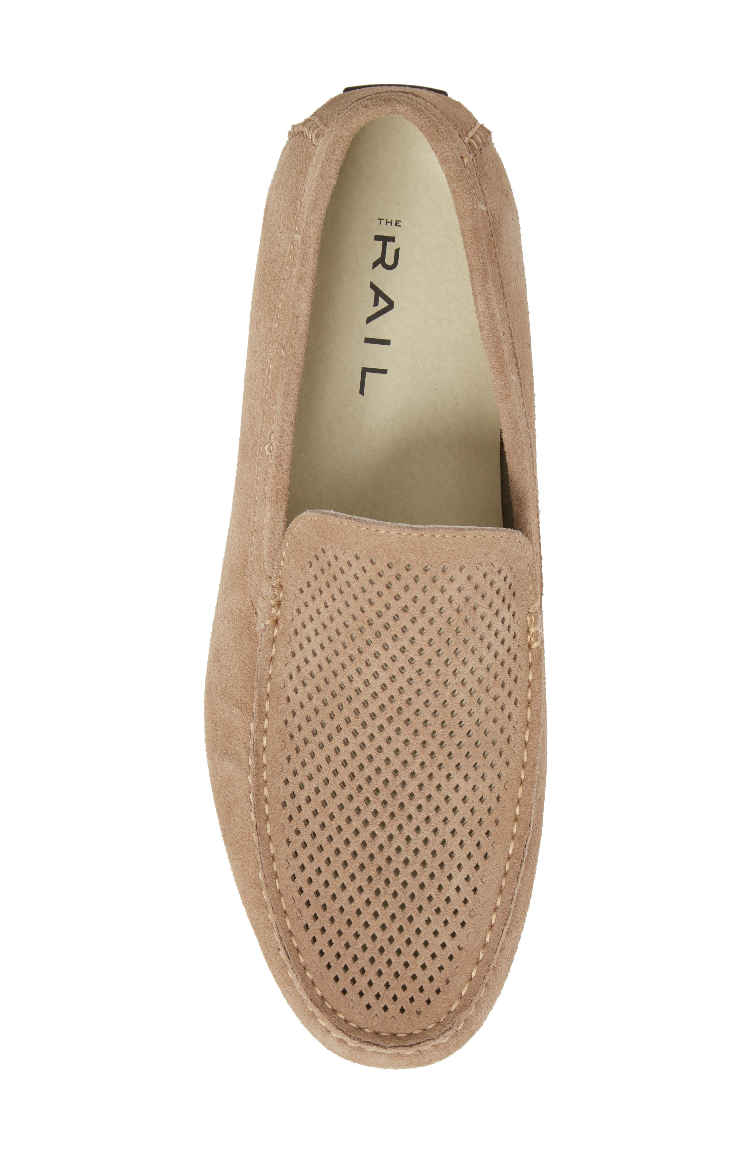 Scottsdale Perforated Driving Moccasin,                             Alternate thumbnail 5, color,                             Tan Suede