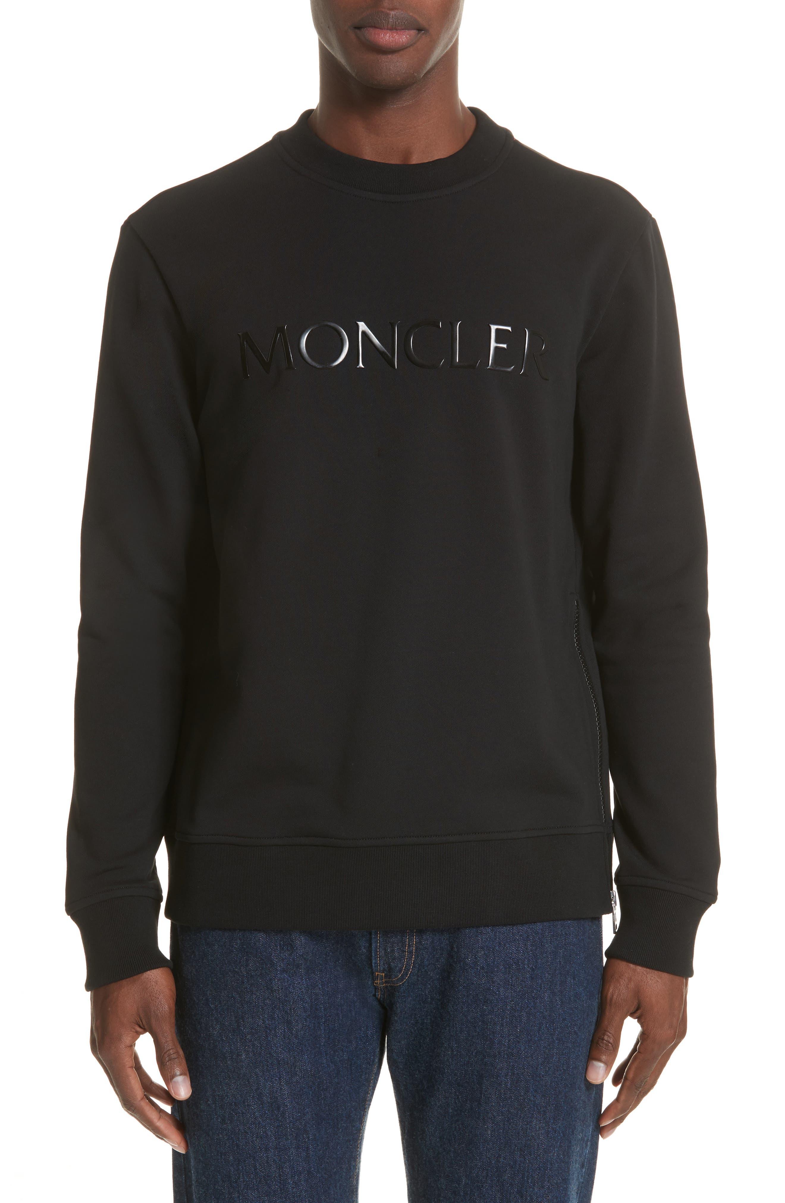 Maglia Griccollo Side Zip Crewneck Sweatshirt,                         Main,                         color, Black