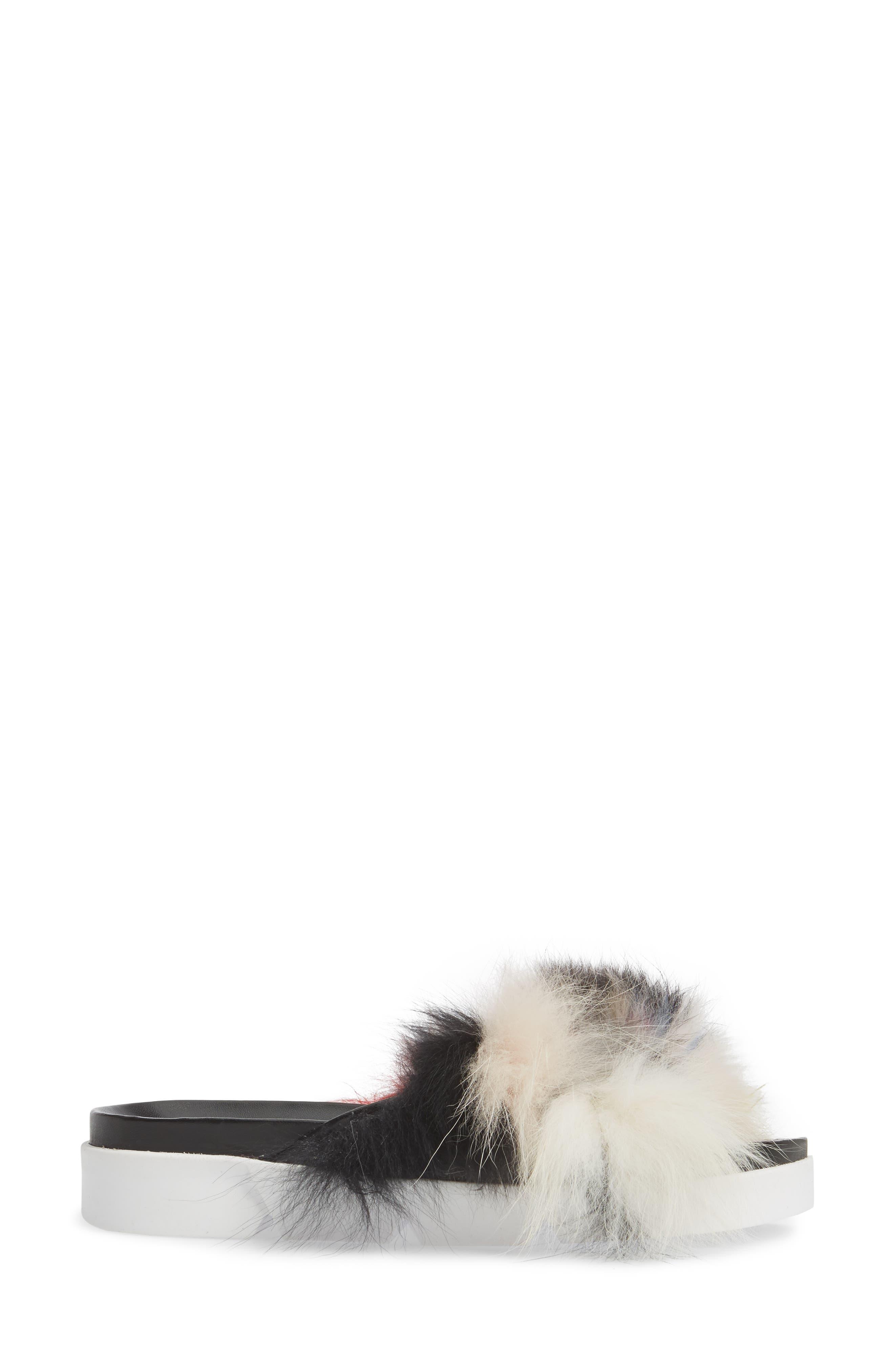 Sublime Genuine Fox Fur Slide Sandal,                             Alternate thumbnail 3, color,                             Carnival Furmania