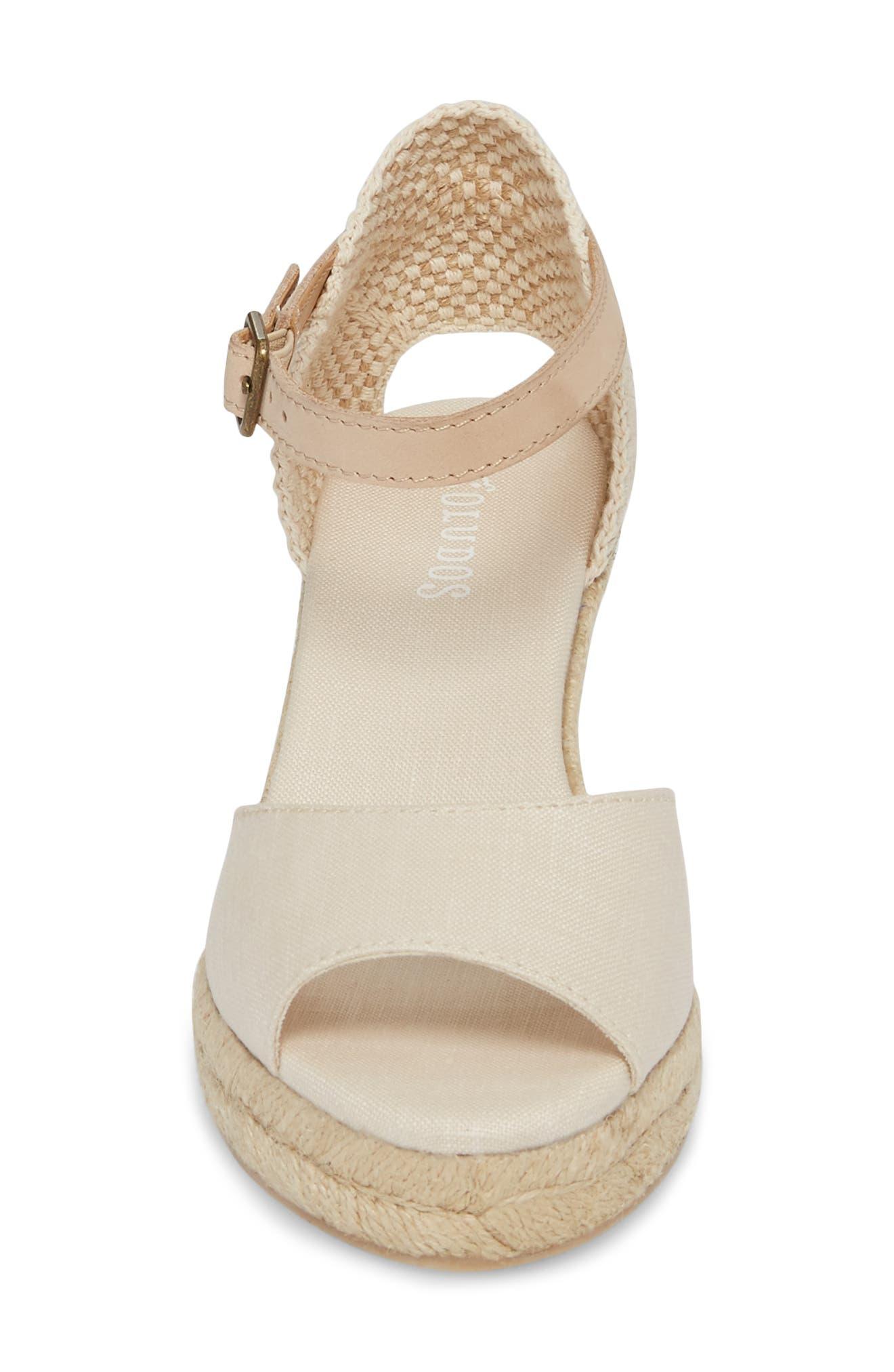 Espadrille Wedge Sandal,                             Alternate thumbnail 4, color,                             Blush Fabric