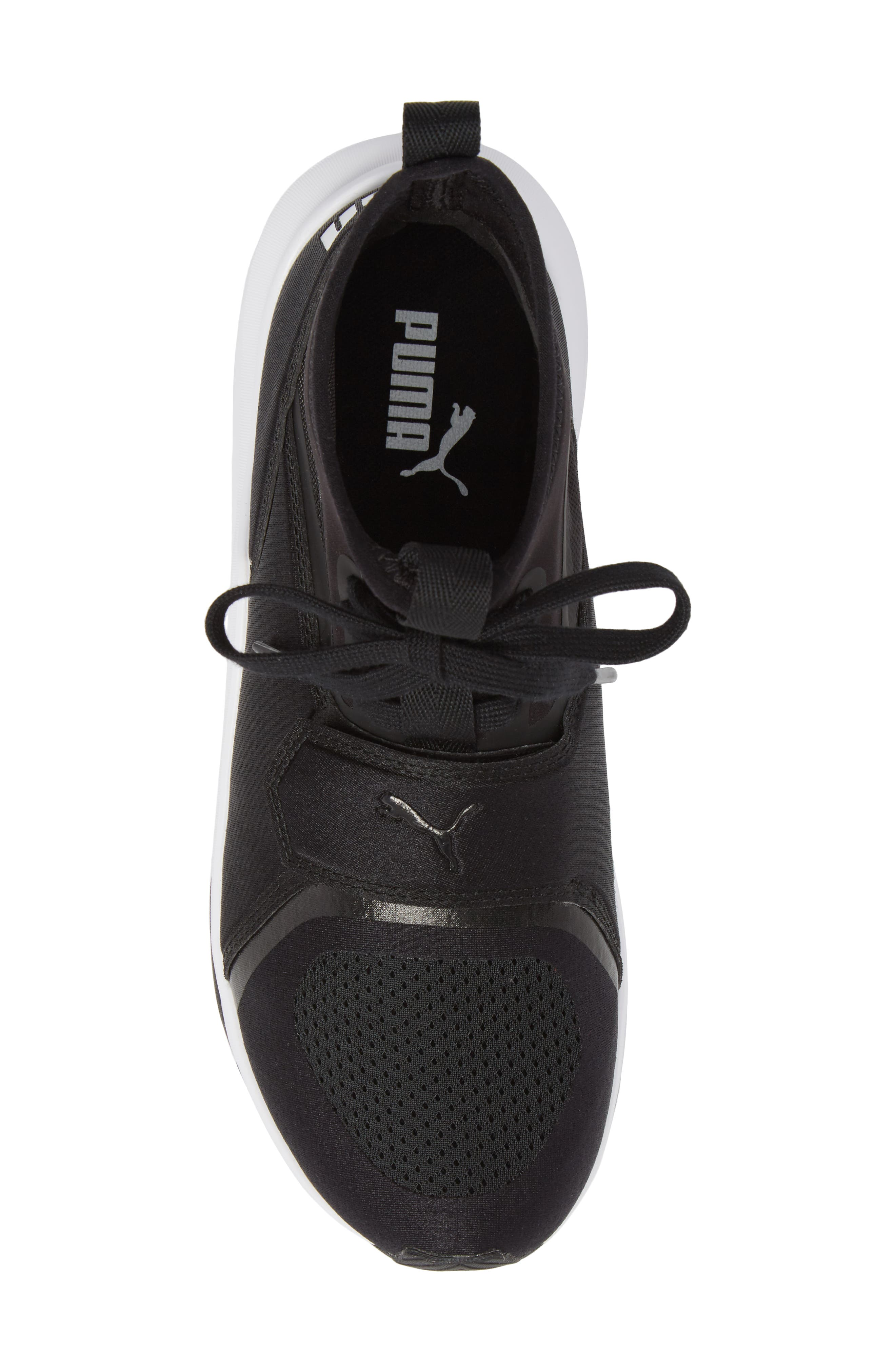 Phenom Jr High Top Sneaker,                             Alternate thumbnail 5, color,                             Puma Black/ Puma White