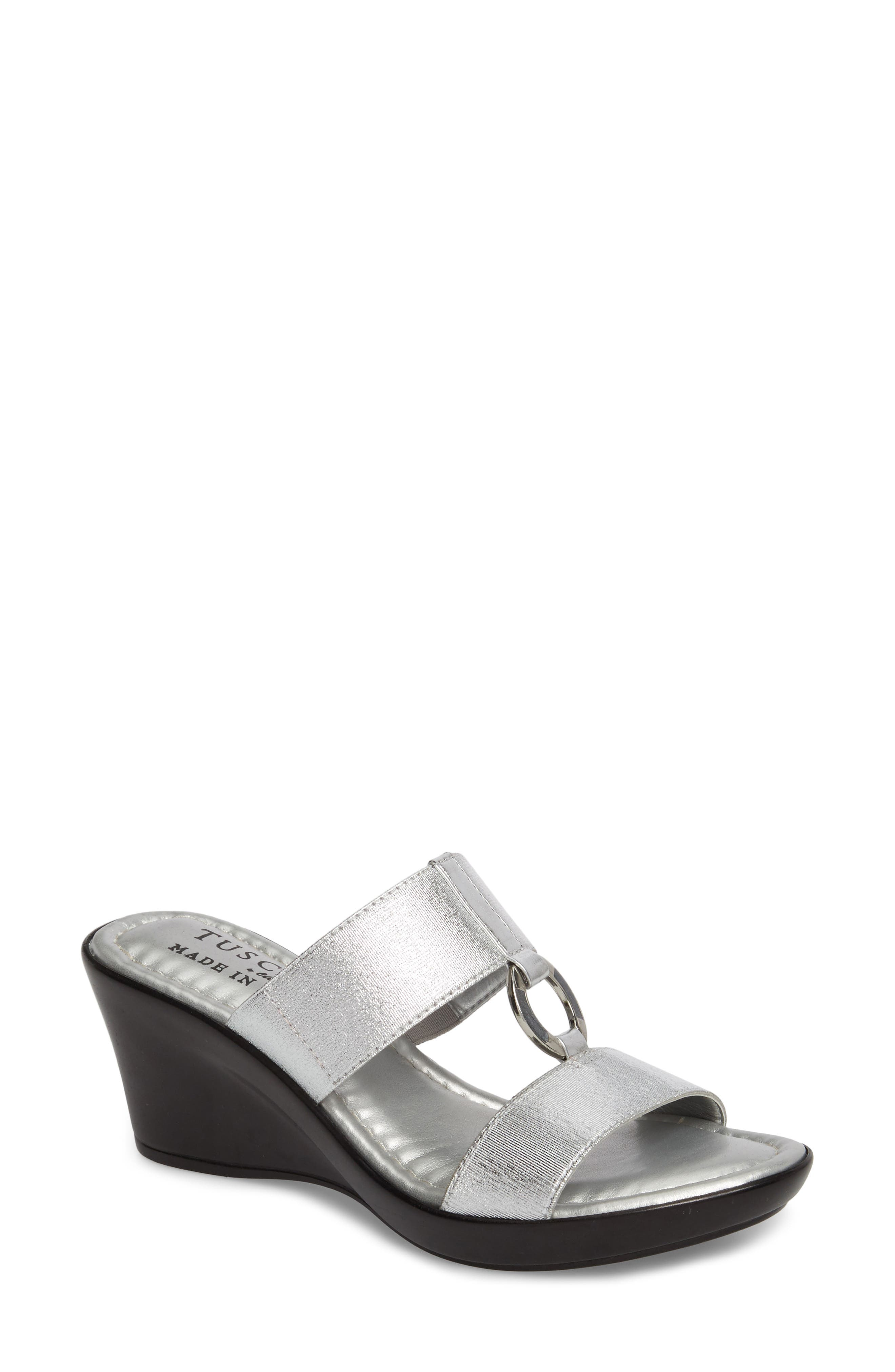 by Easy Street<sup>®</sup> Marietta Slide Sandal,                         Main,                         color, Silver Patent Faux Leather