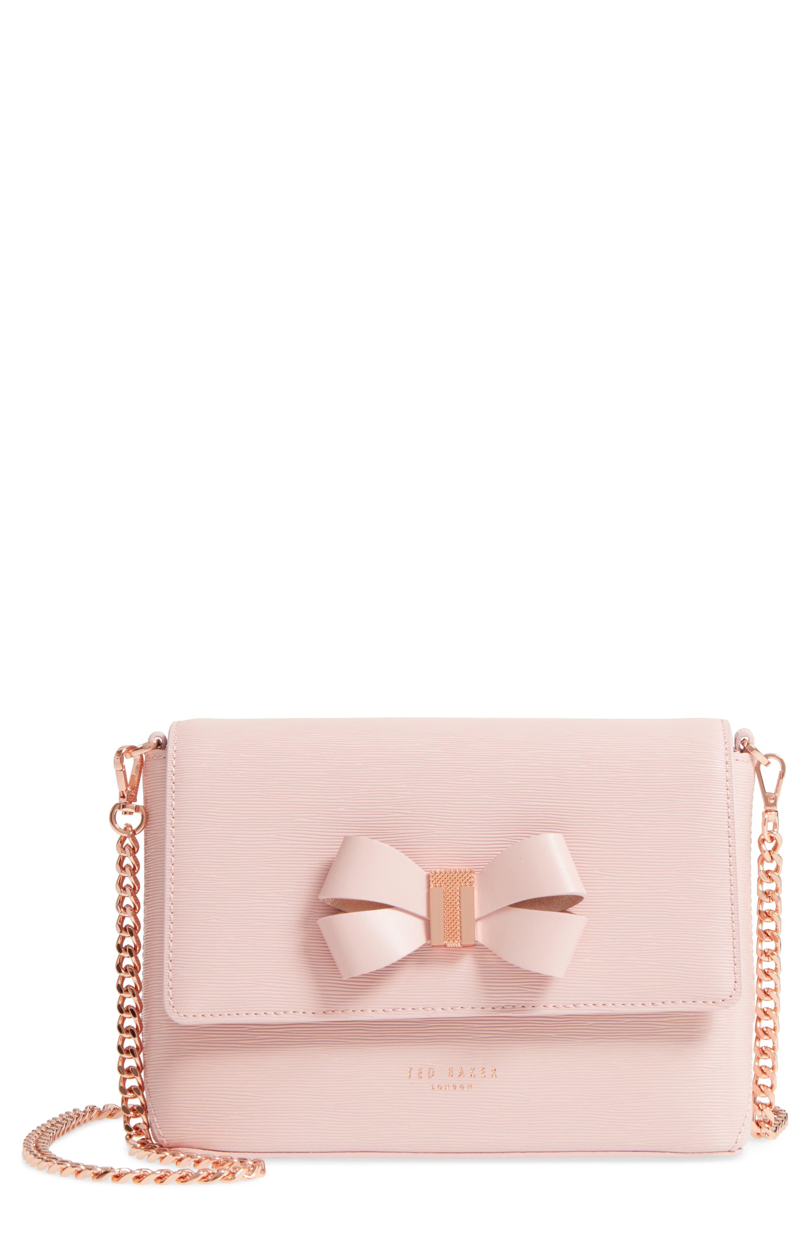 Bowii Bow Mini Bark Leather Crossbody Bag,                             Main thumbnail 1, color,                             Light Pink
