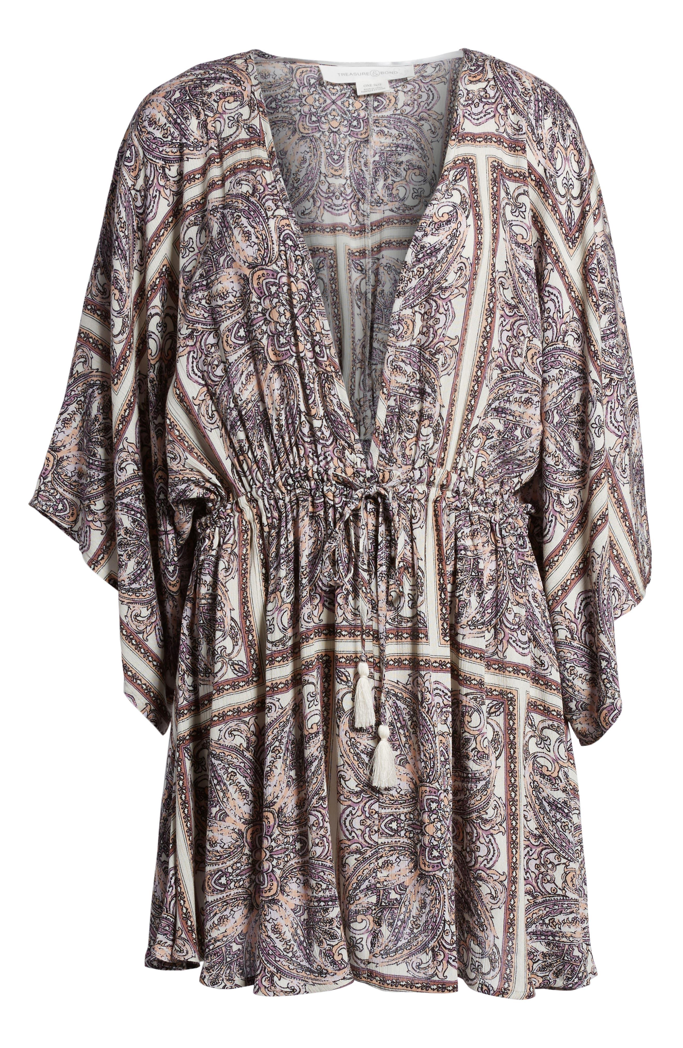 Royal Tiles Cover-Up Kimono,                             Alternate thumbnail 6, color,                             Ivory Combo