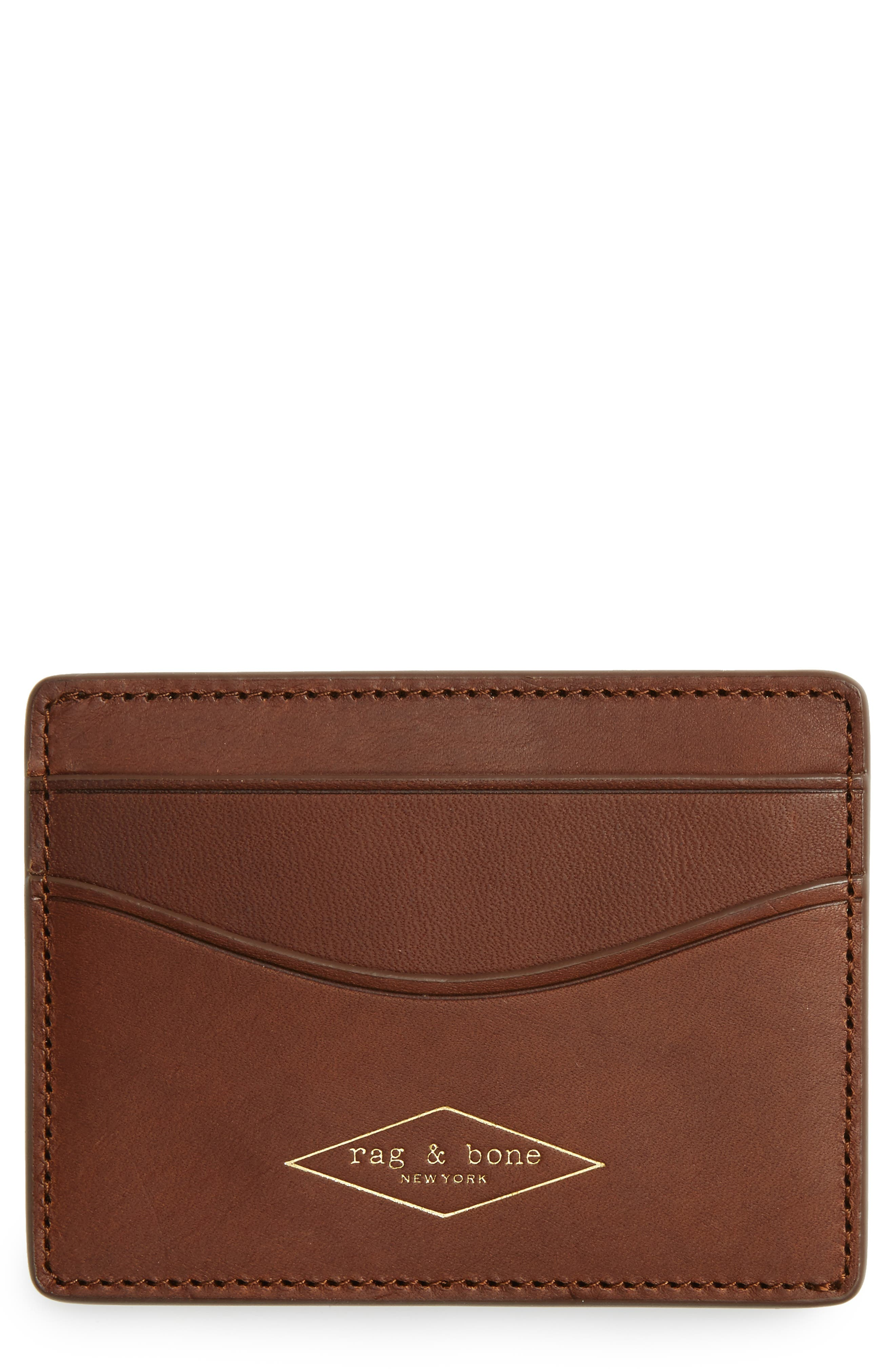 Leather Card Case,                             Main thumbnail 1, color,                             Brown