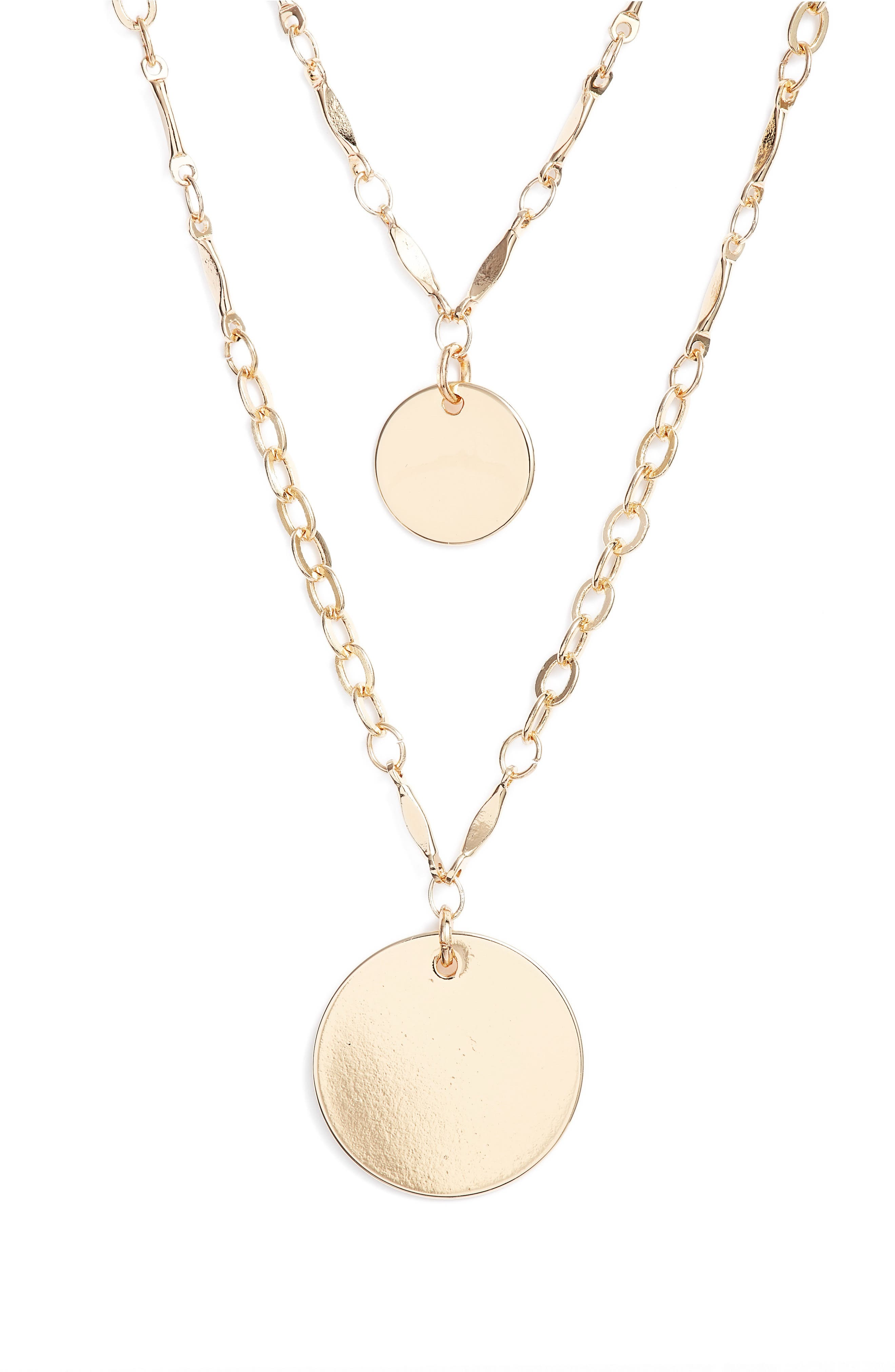 Two-in-One Double Disc Pendant Necklace,                             Alternate thumbnail 2, color,                             Gold