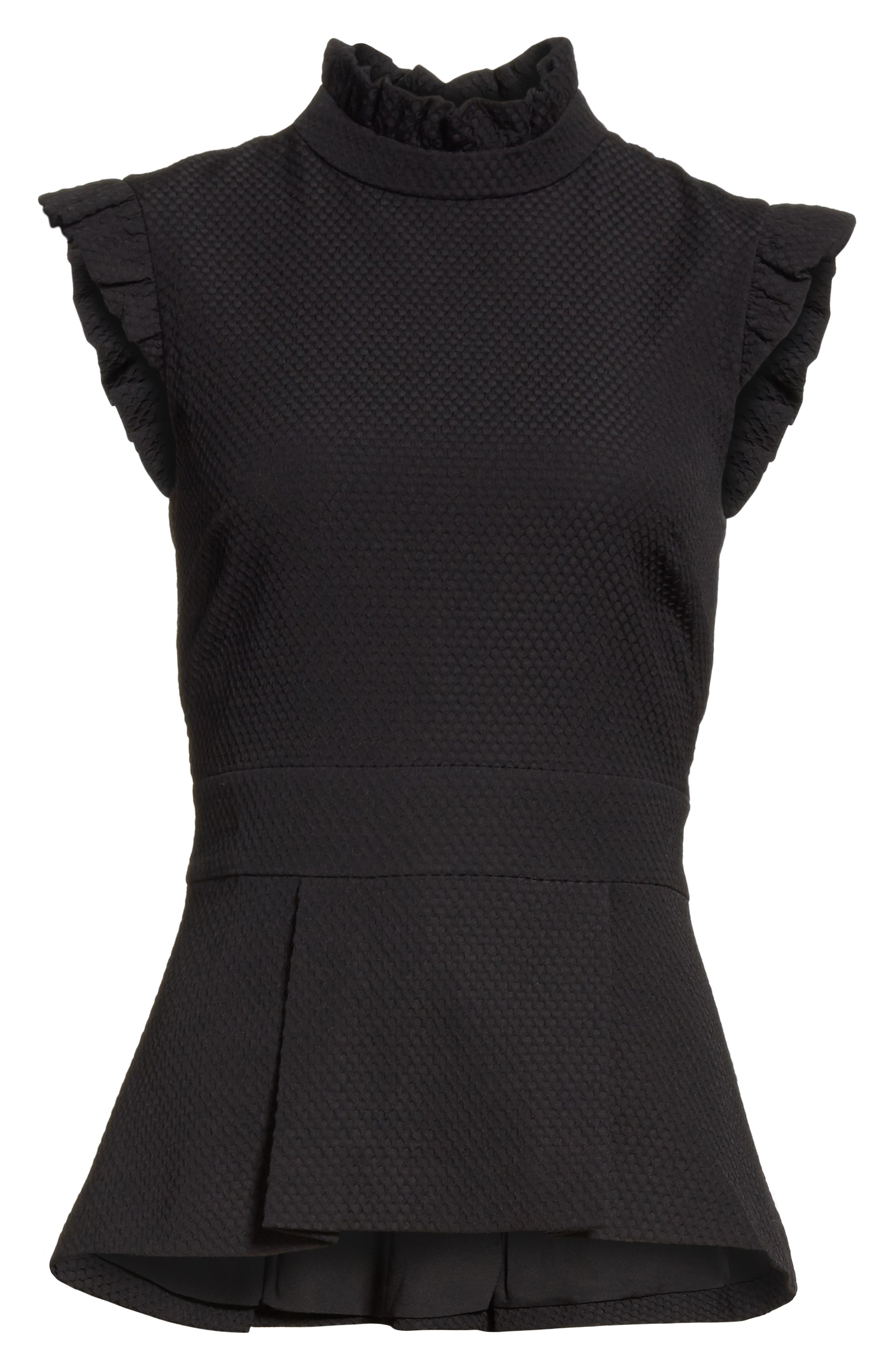 Ruffle Neck Peplum Top,                             Alternate thumbnail 6, color,                             Black