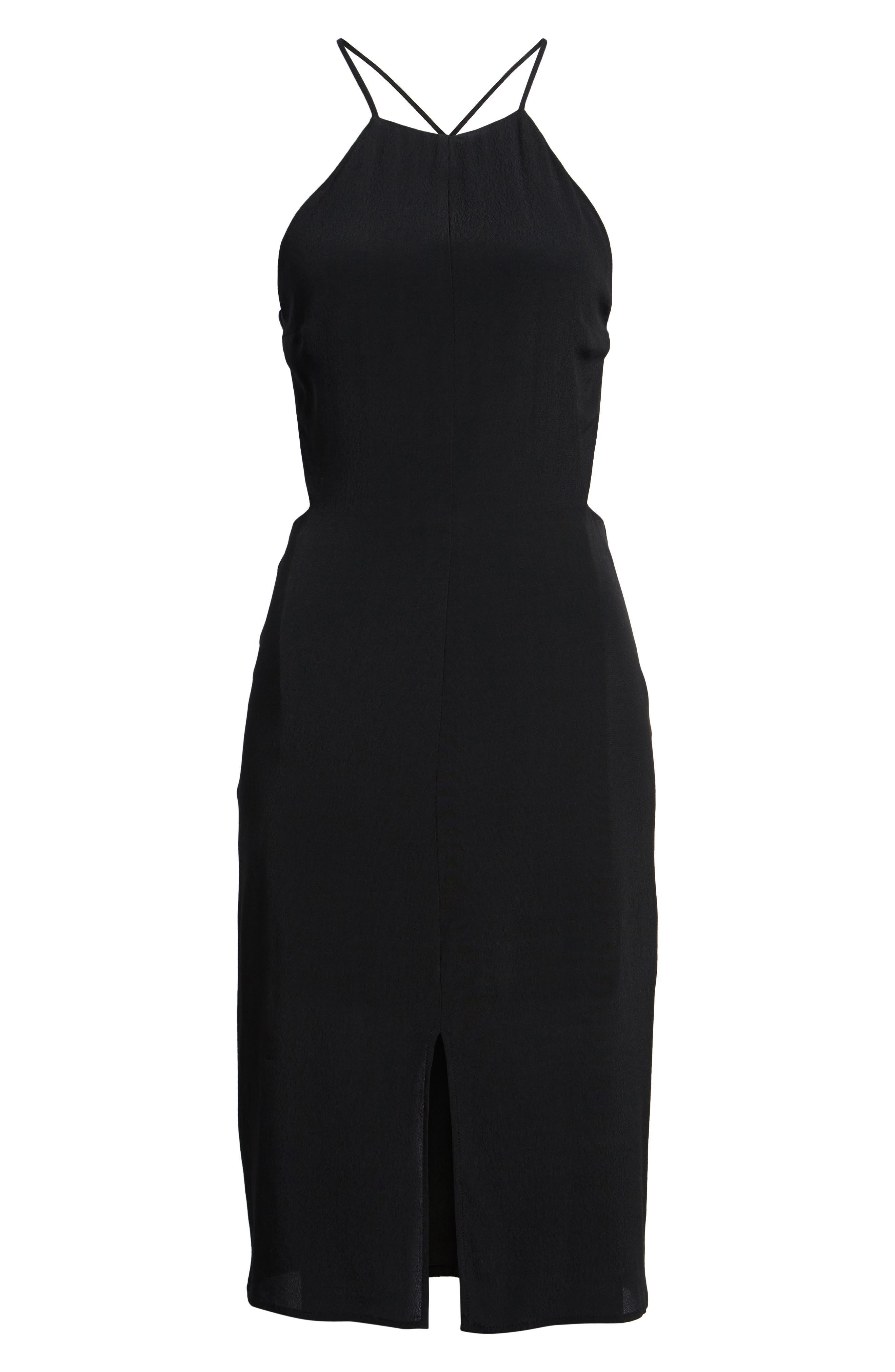 Backless Sheath Dress,                             Alternate thumbnail 6, color,                             Black