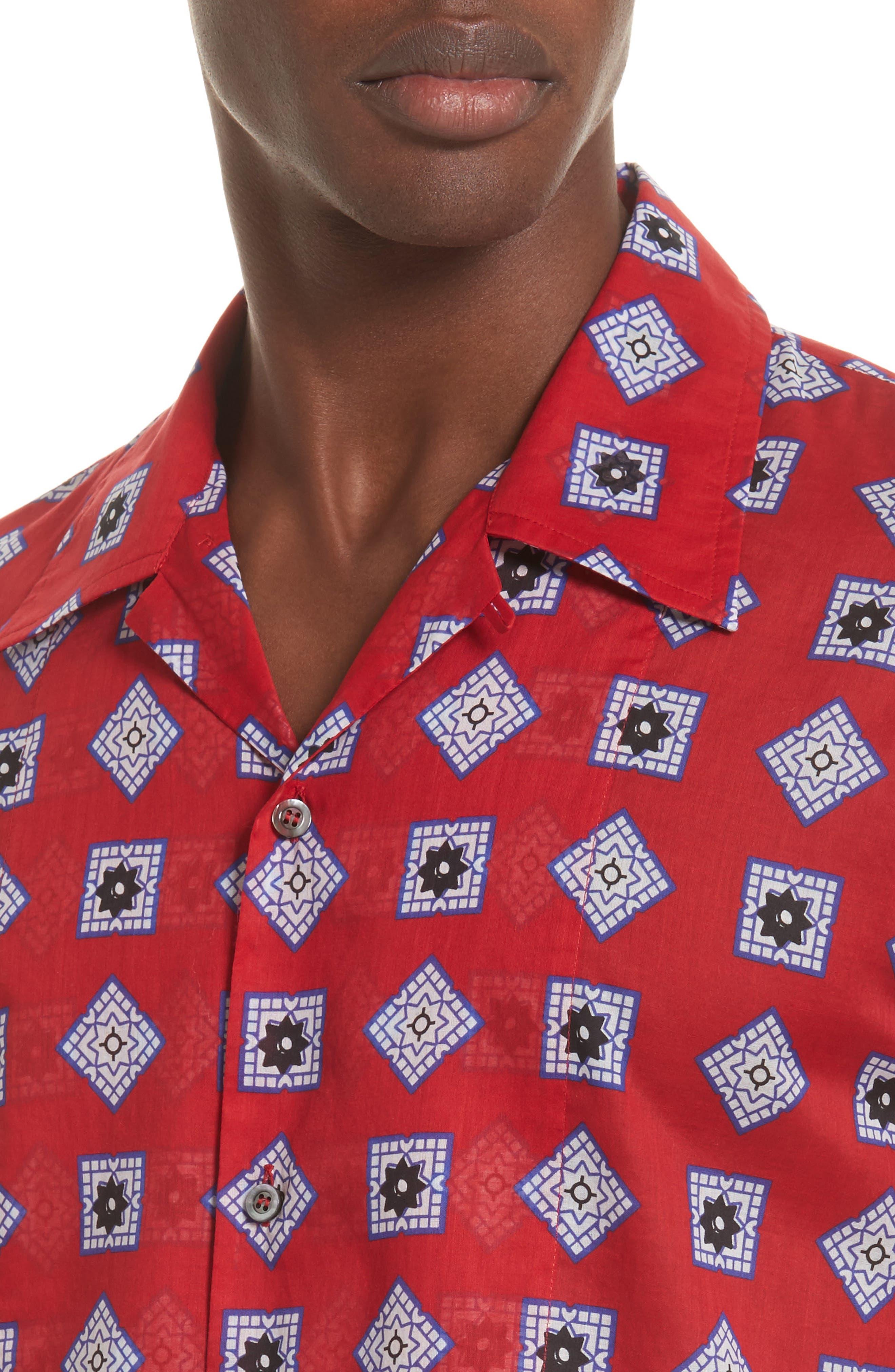 Muslin Print Camp Shirt,                             Alternate thumbnail 2, color,                             Red
