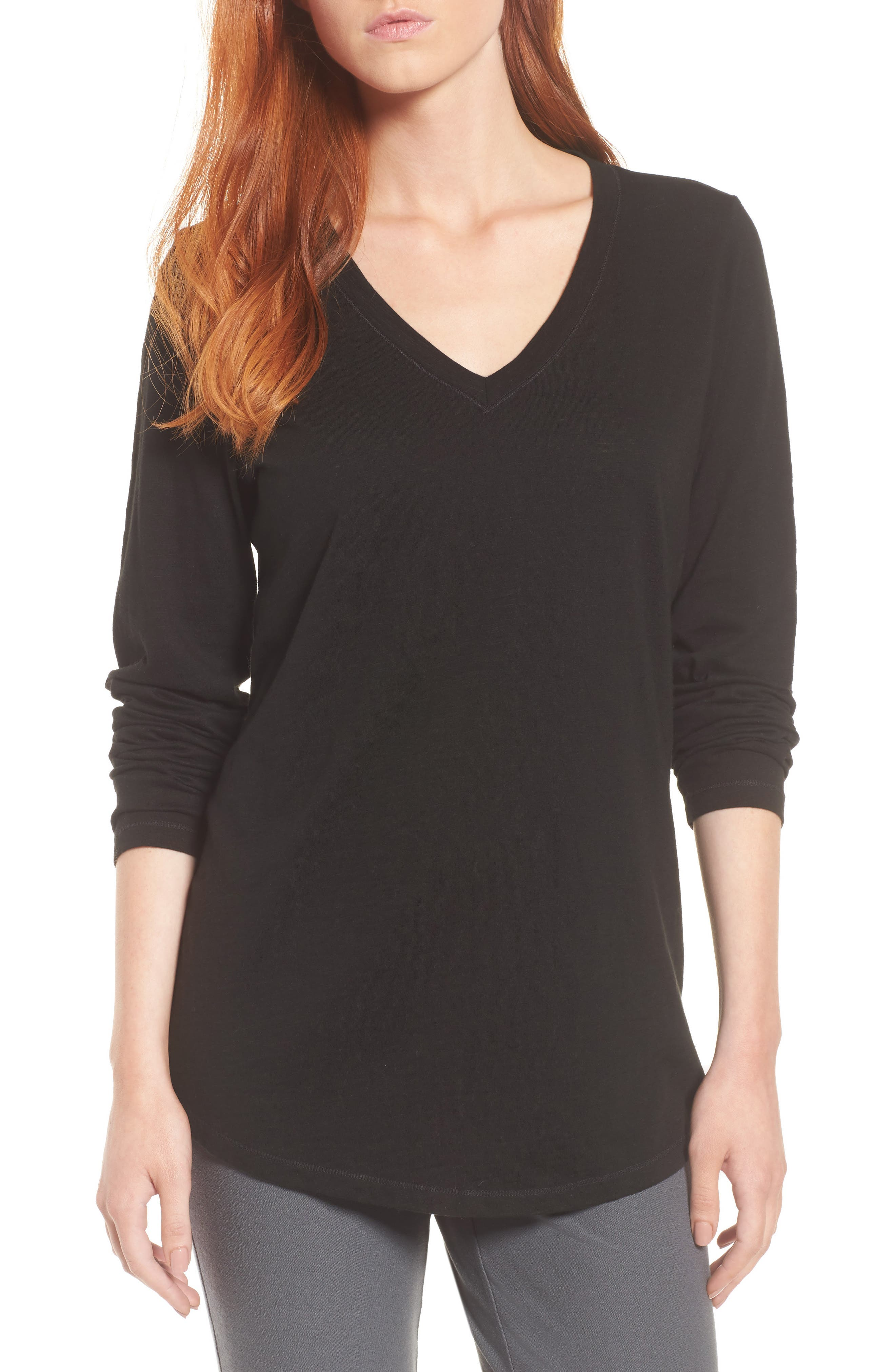 Organic Cotton V-Neck Tee,                         Main,                         color, Black