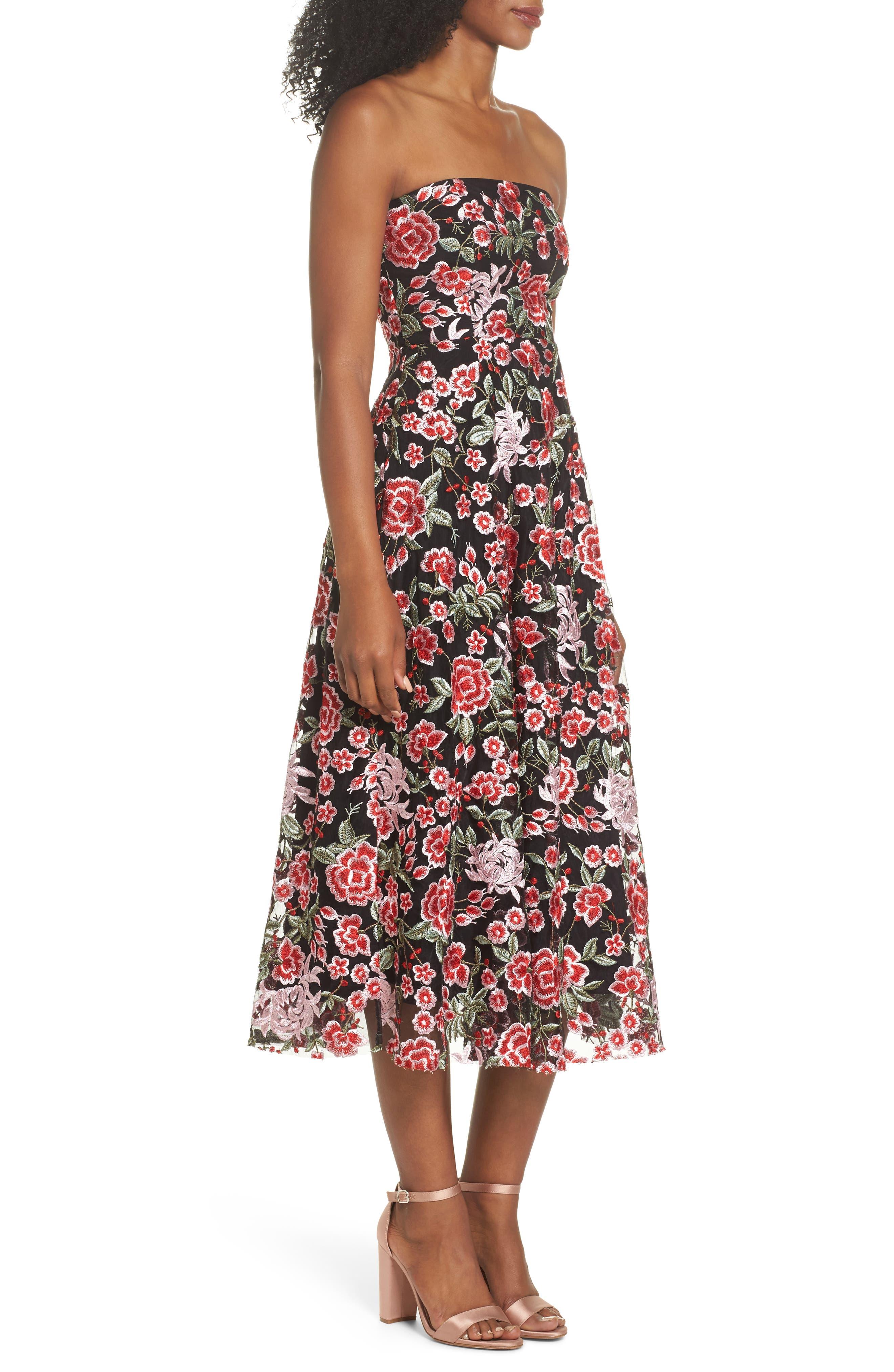 Cosette Embroidered Strapless Dress,                             Alternate thumbnail 3, color,                             Black Multi
