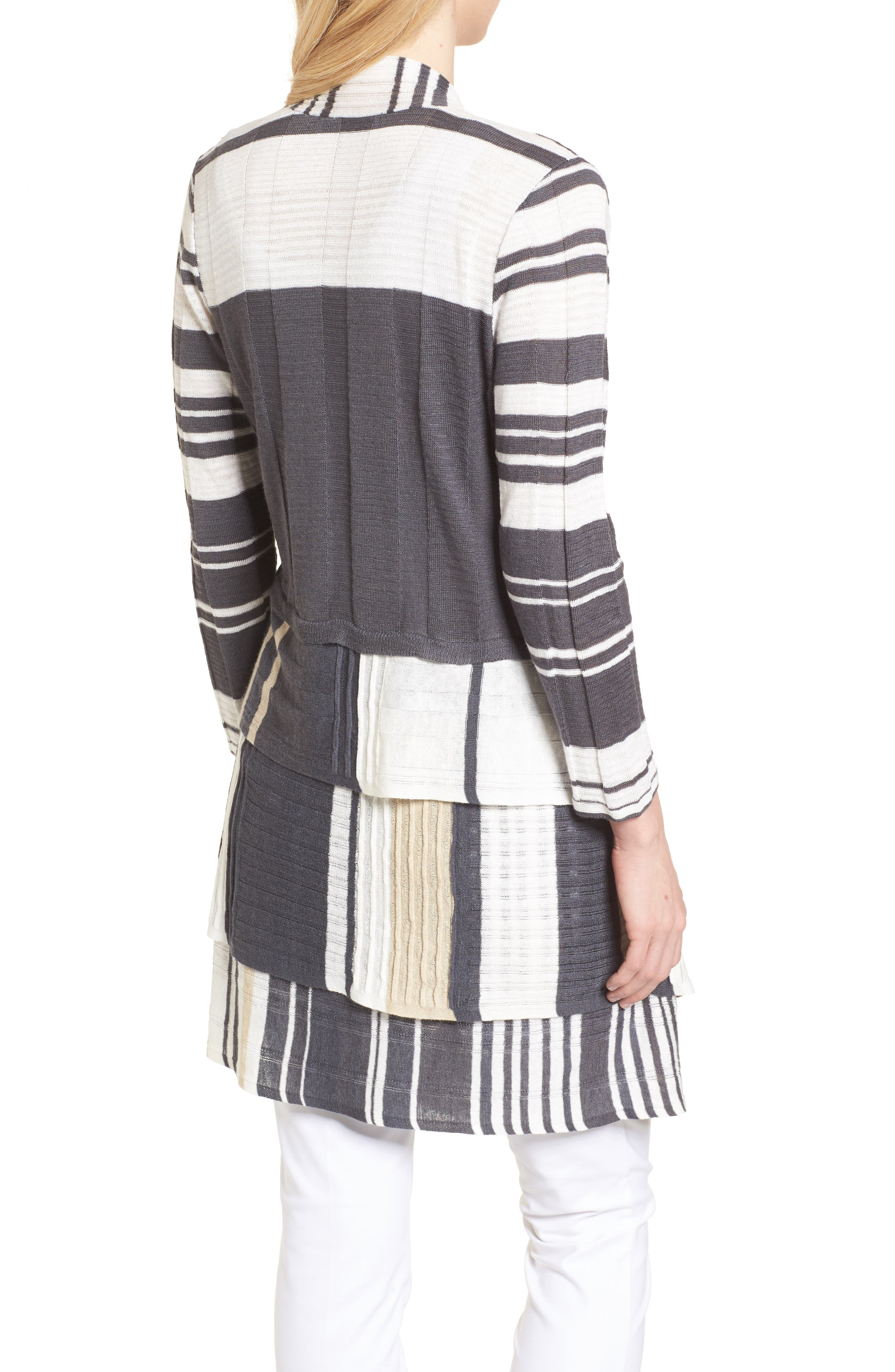 Spice Market Waterfall Linen Blend Cardigan,                             Alternate thumbnail 2, color,                             Multi