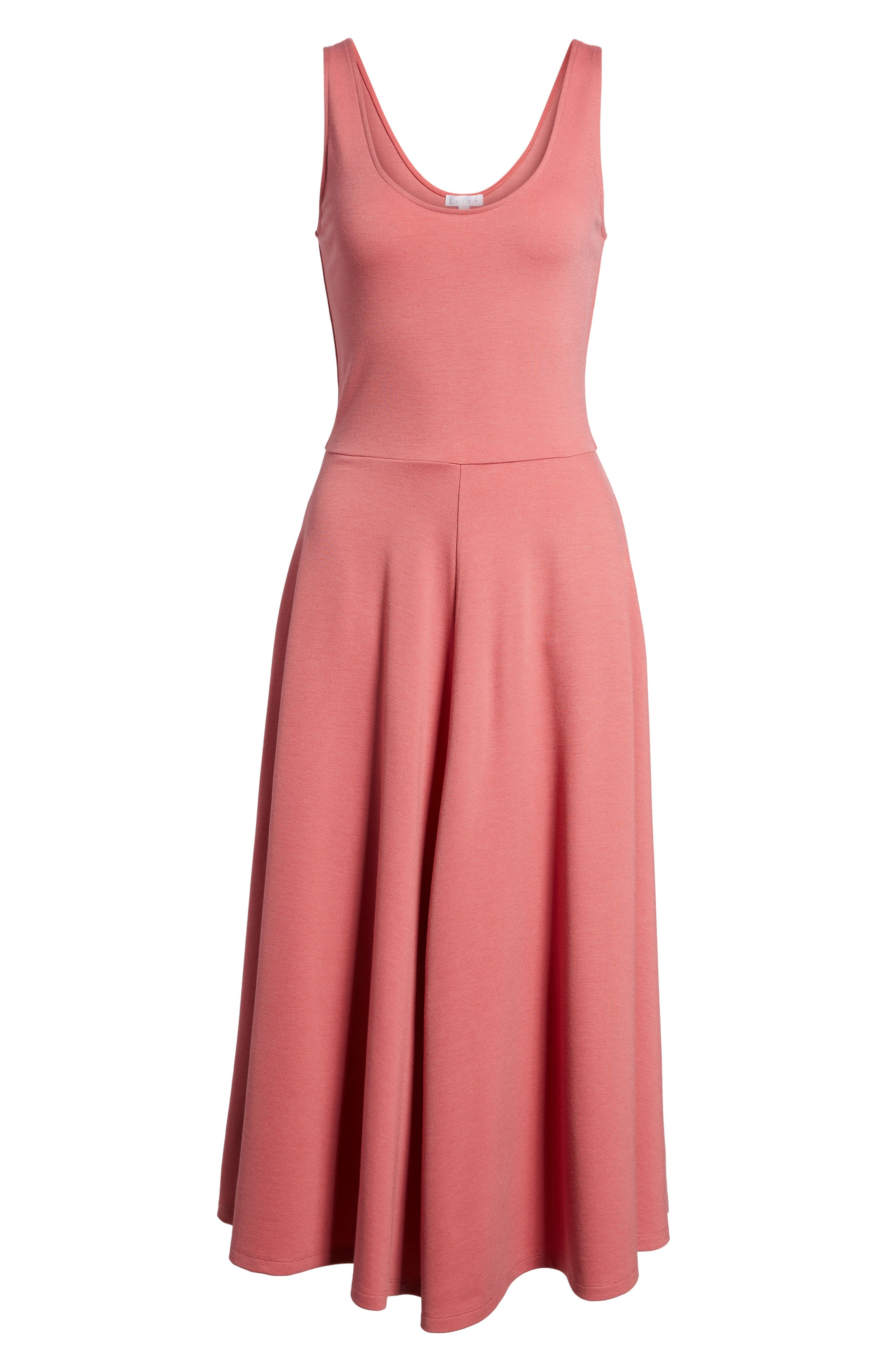 Stretch Knit Midi Dress,                             Alternate thumbnail 6, color,                             Red Baroque