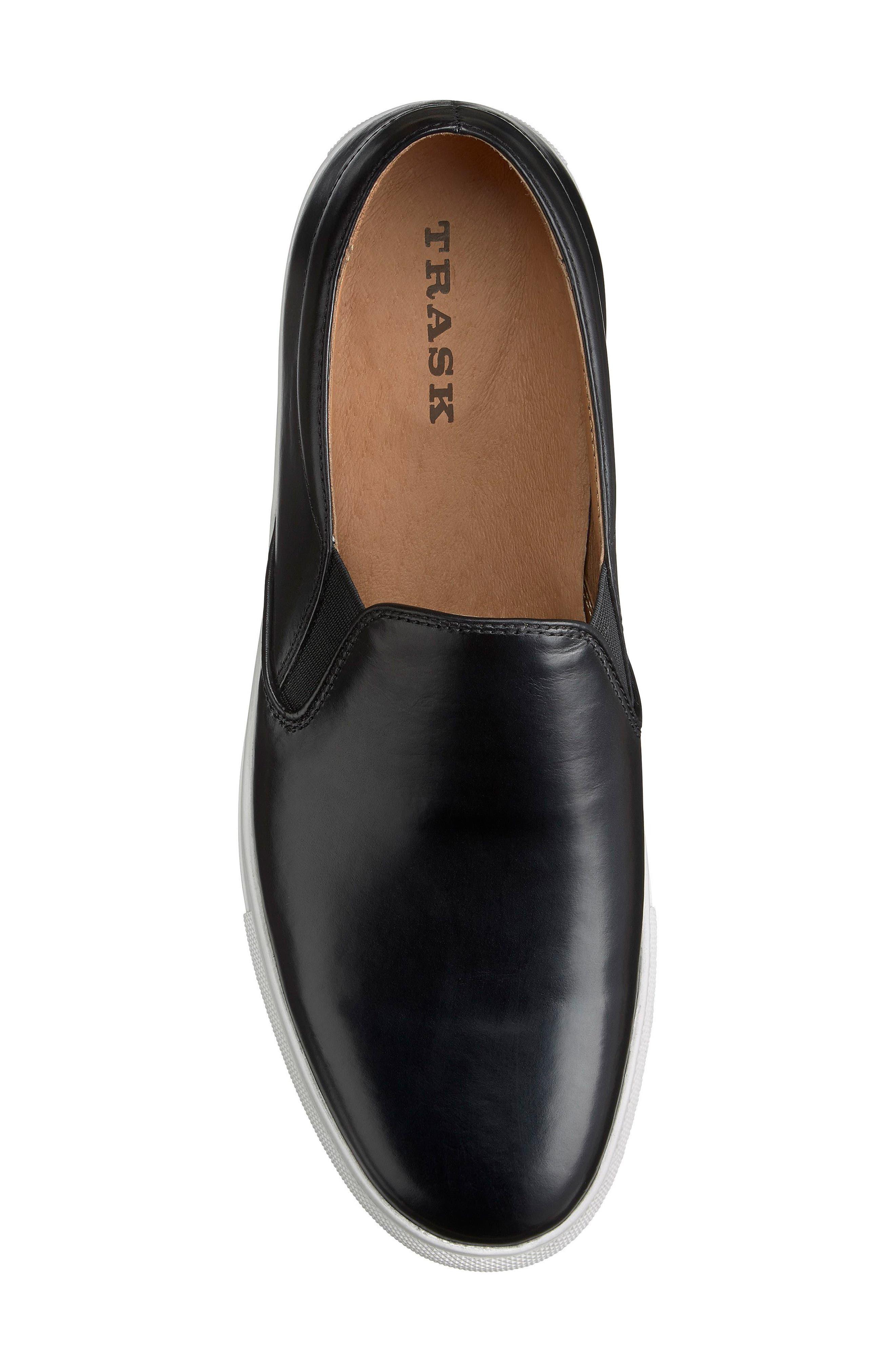 Alex Slip-On Sneaker,                             Alternate thumbnail 5, color,                             Black Leather