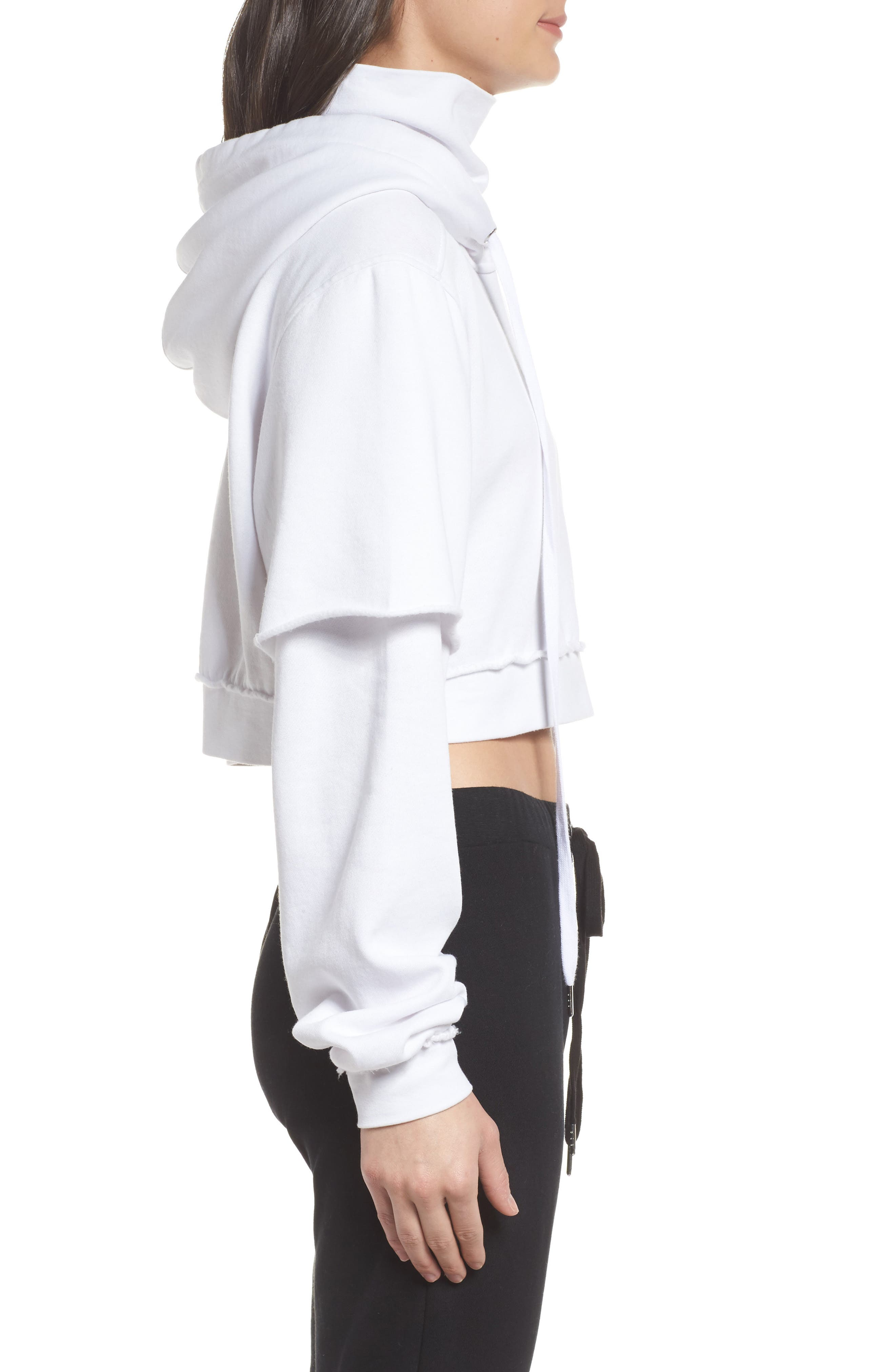 Good Hood Crop Hoodie,                             Alternate thumbnail 3, color,                             White