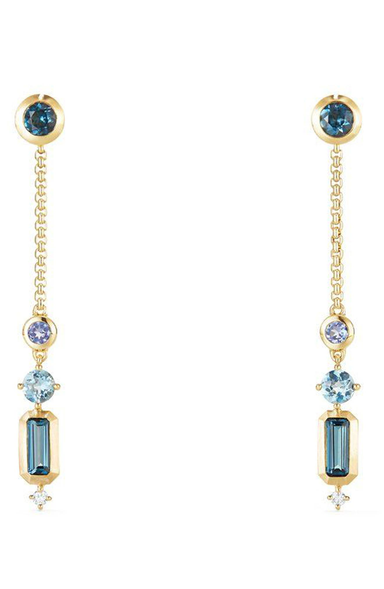 Novella Drop Earrings with Diamonds,                             Main thumbnail 1, color,                             Gold/ Hampton Blue Topaz