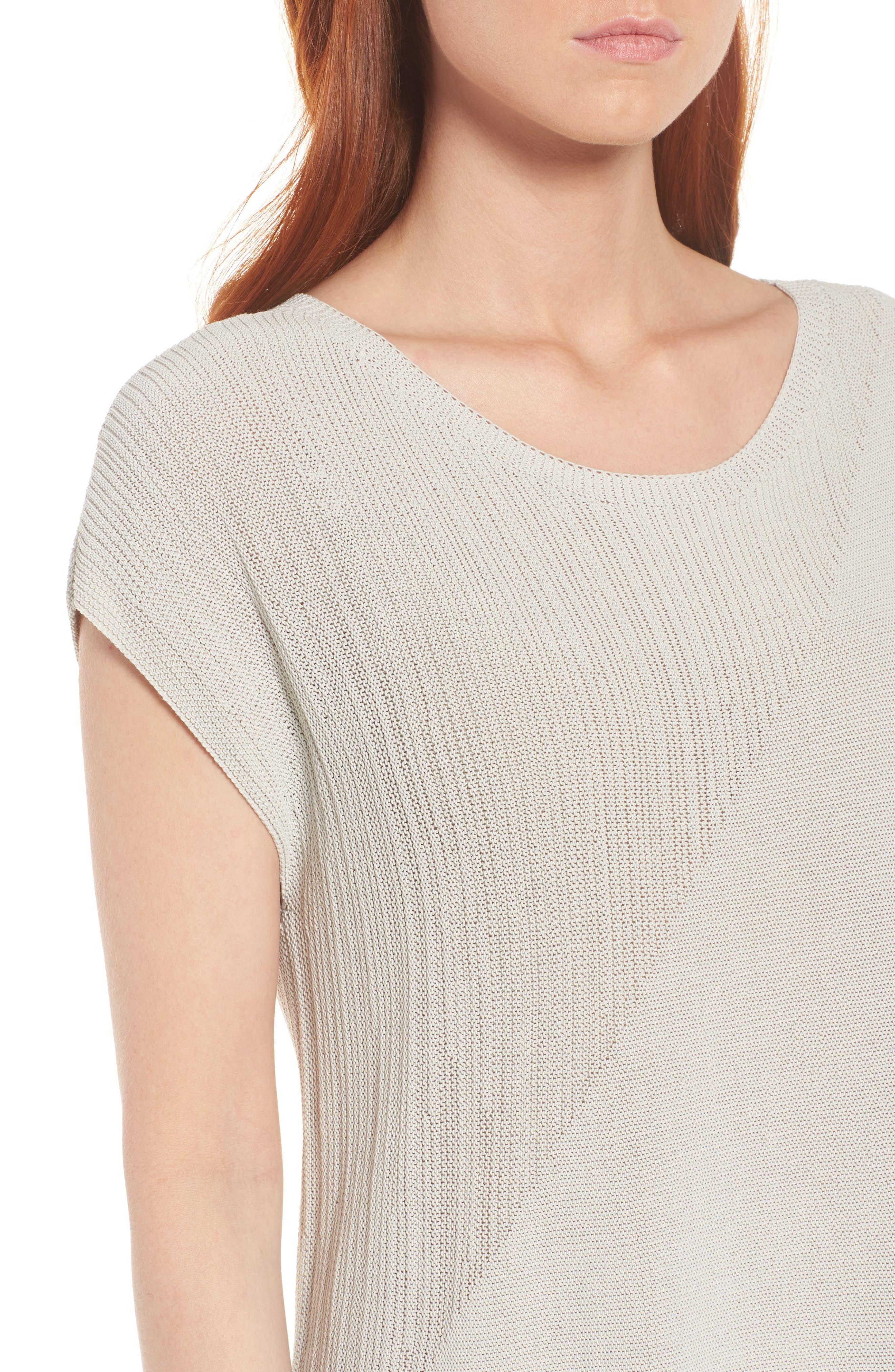 Organic Cotton Tunic Top,                             Alternate thumbnail 4, color,                             Bone