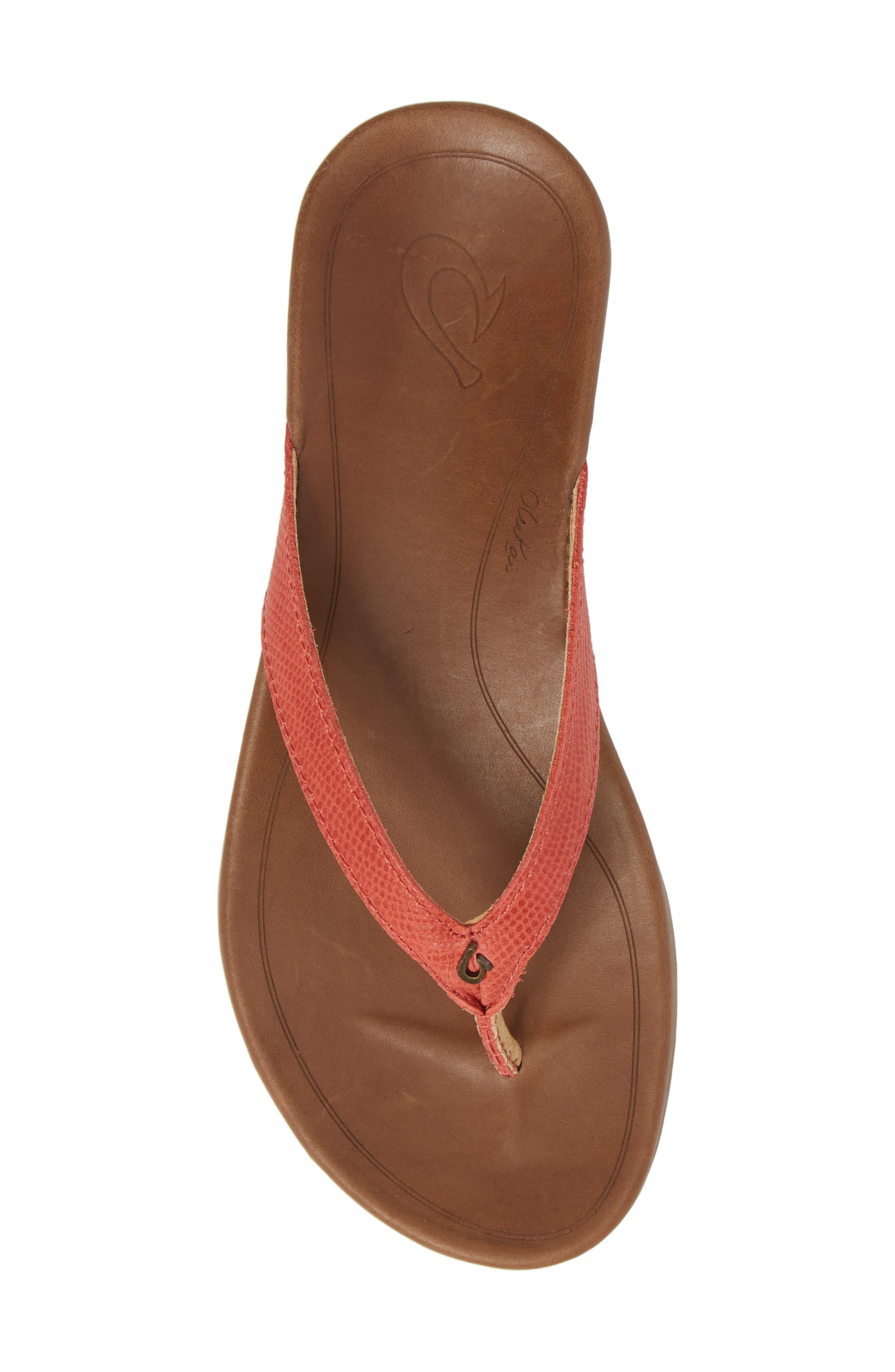 'Hi Ona' Flip Flop,                             Alternate thumbnail 5, color,                             Paprika/ Tan Leather