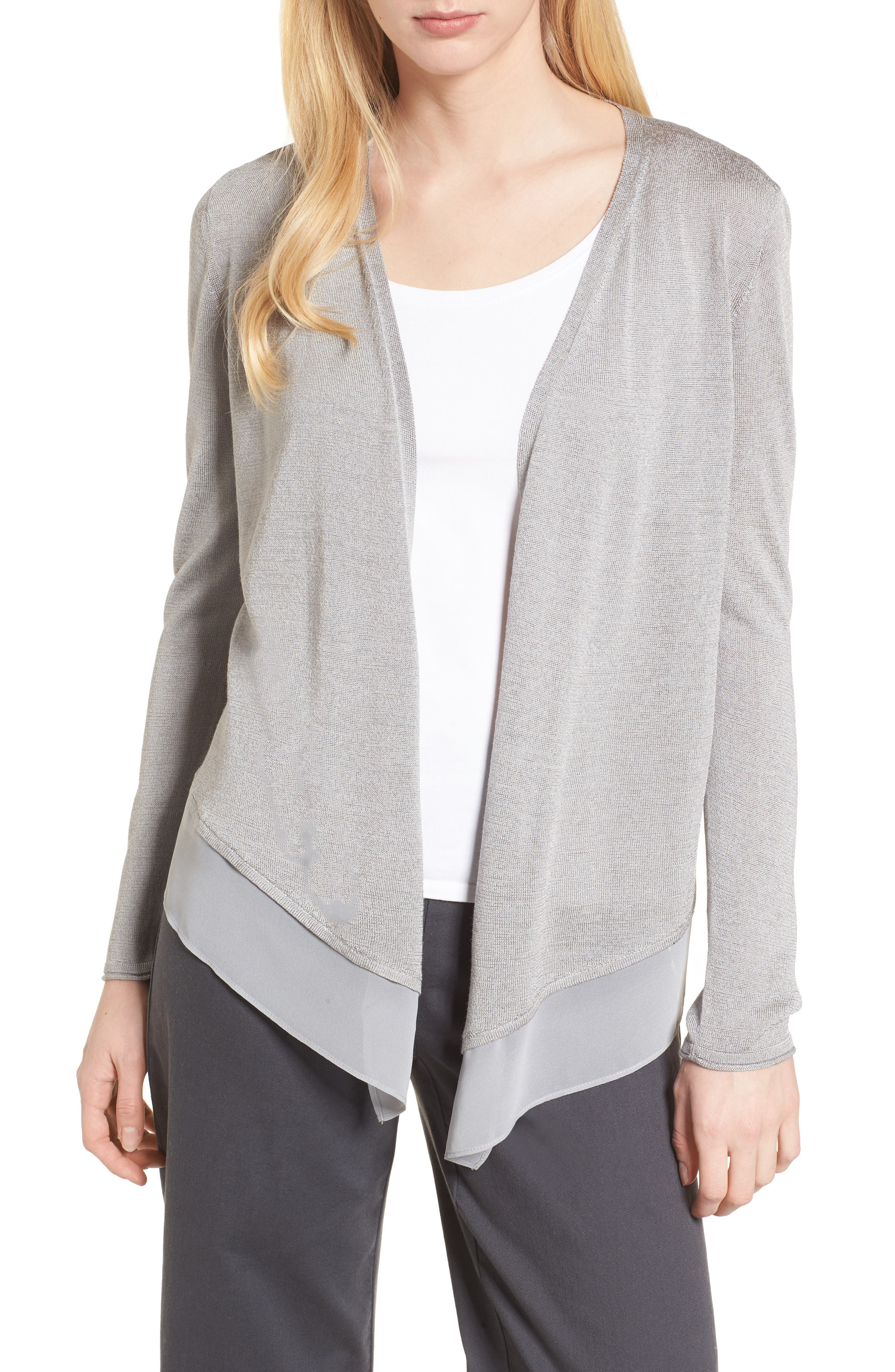 Paired Up Silk Blend Cardigan,                         Main,                         color, Zinc