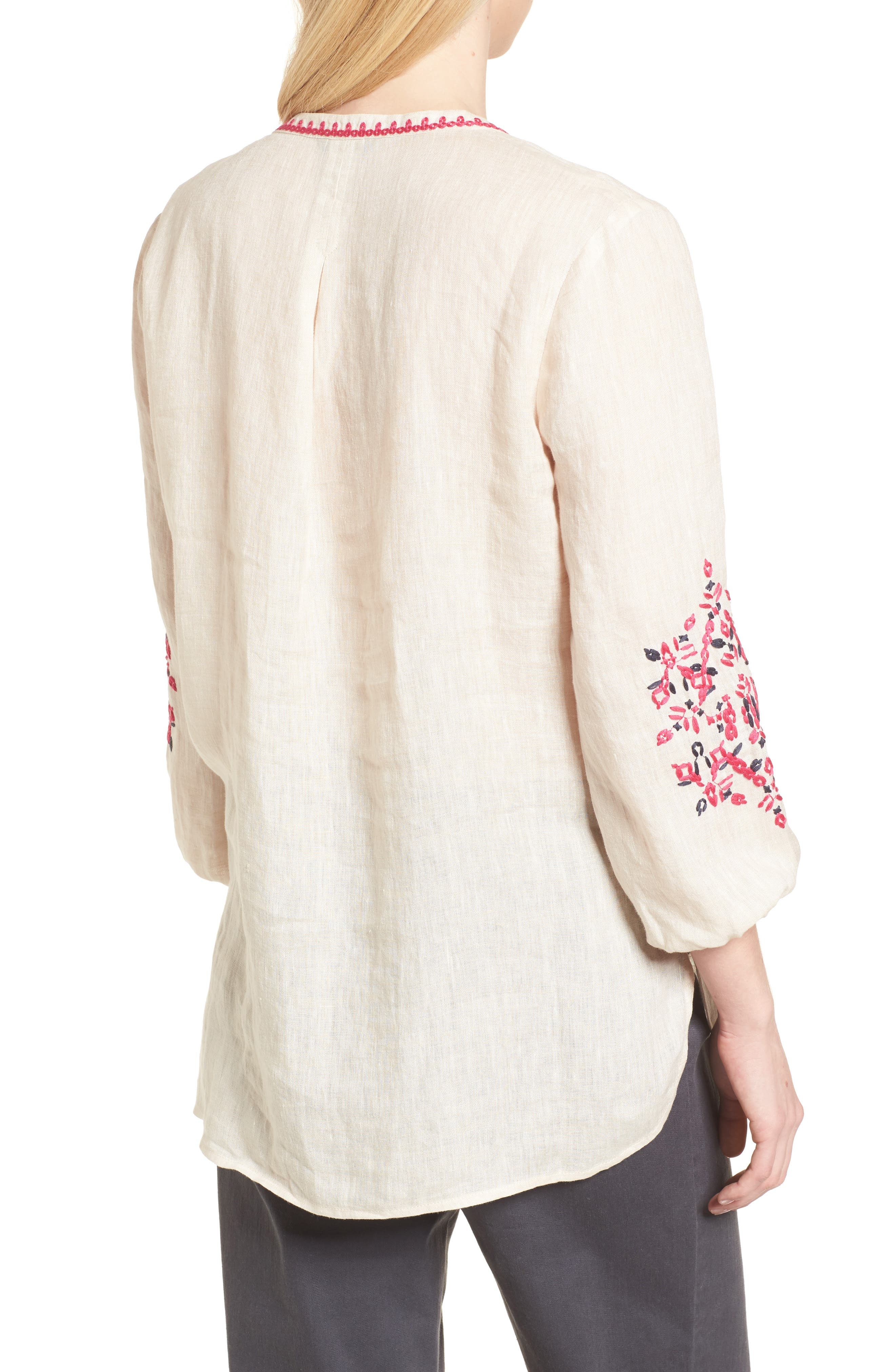 Flora Embroidered Linen Top,                             Alternate thumbnail 2, color,                             Sand Wash Mix