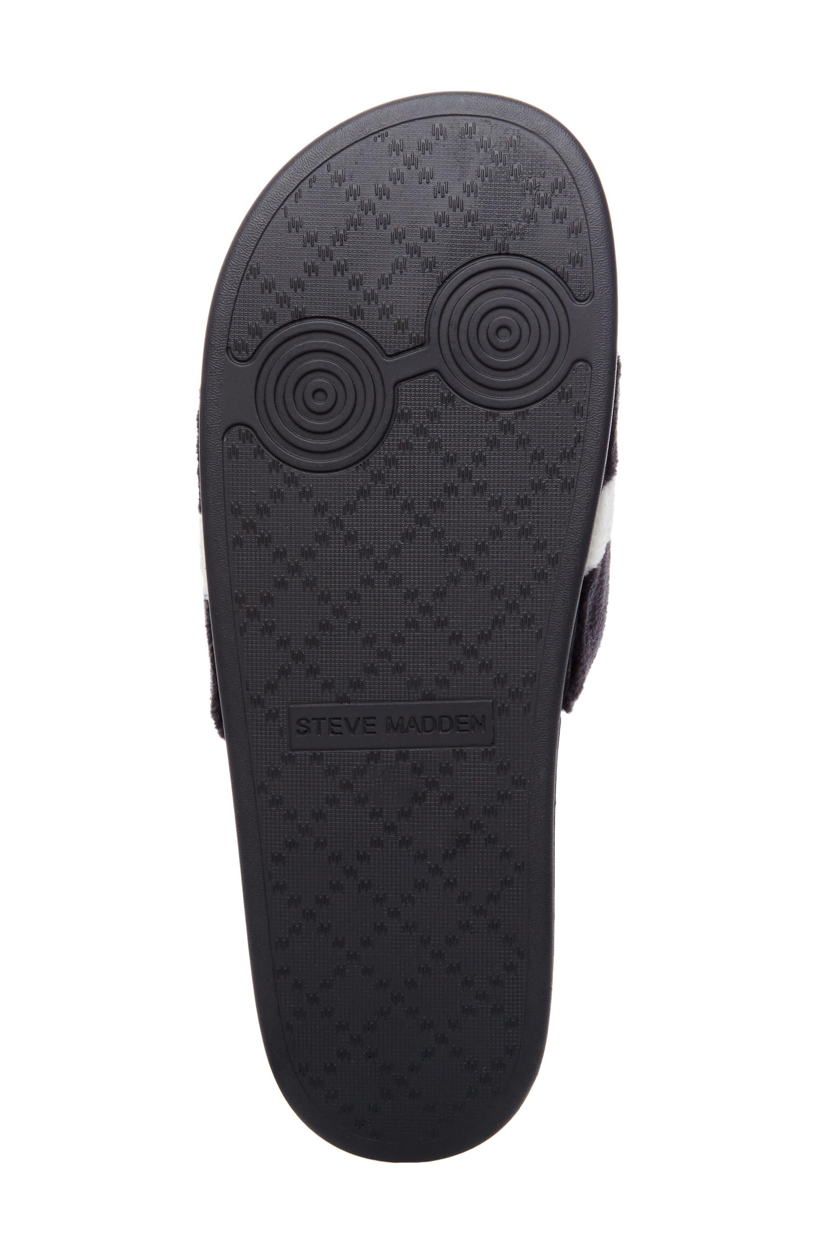 Resport Plush Slide Sandal,                             Alternate thumbnail 6, color,                             Black/ White