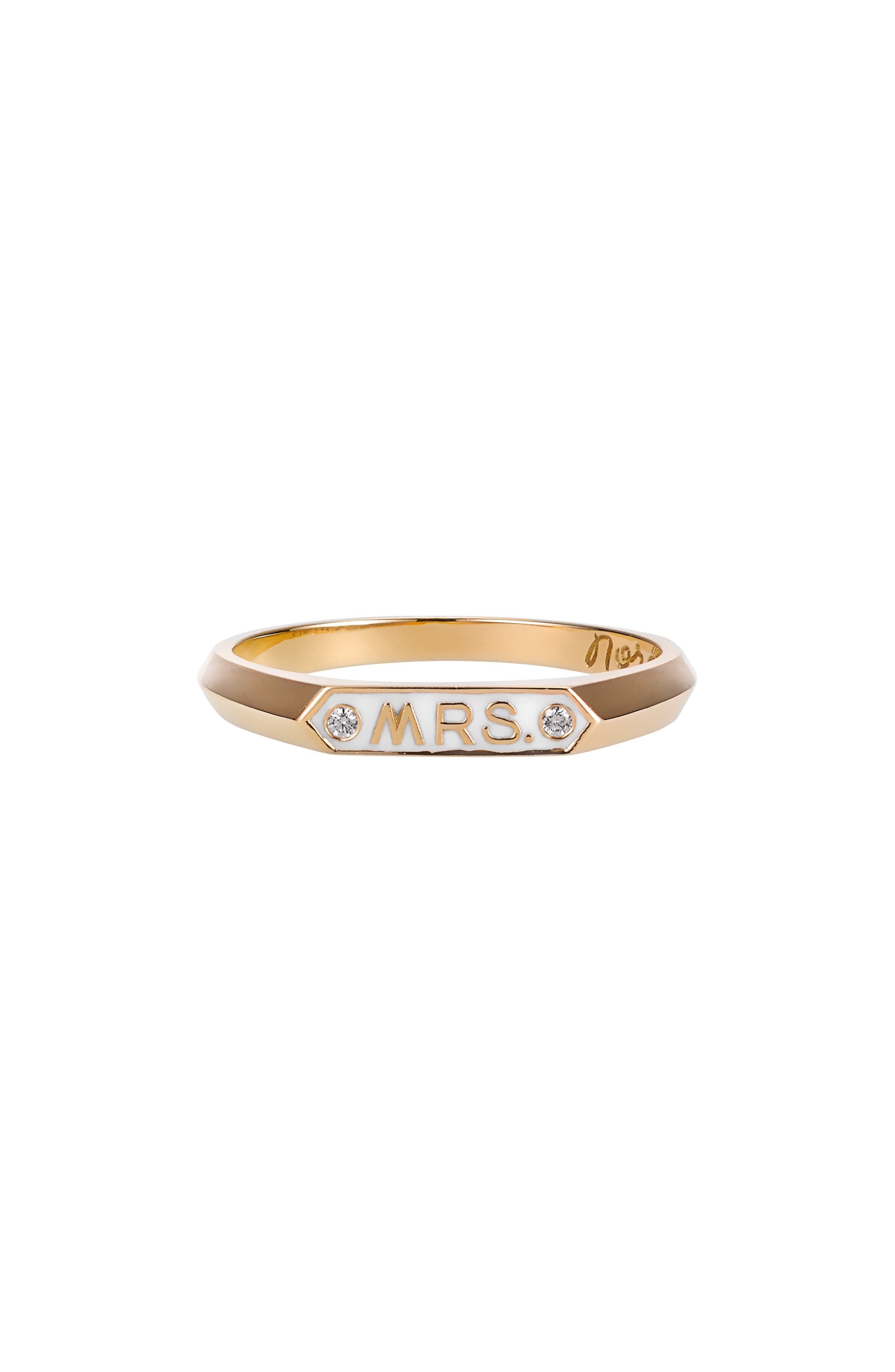 Mrs. Signet Enamel Ring,                             Main thumbnail 1, color,                             Yellow Gold