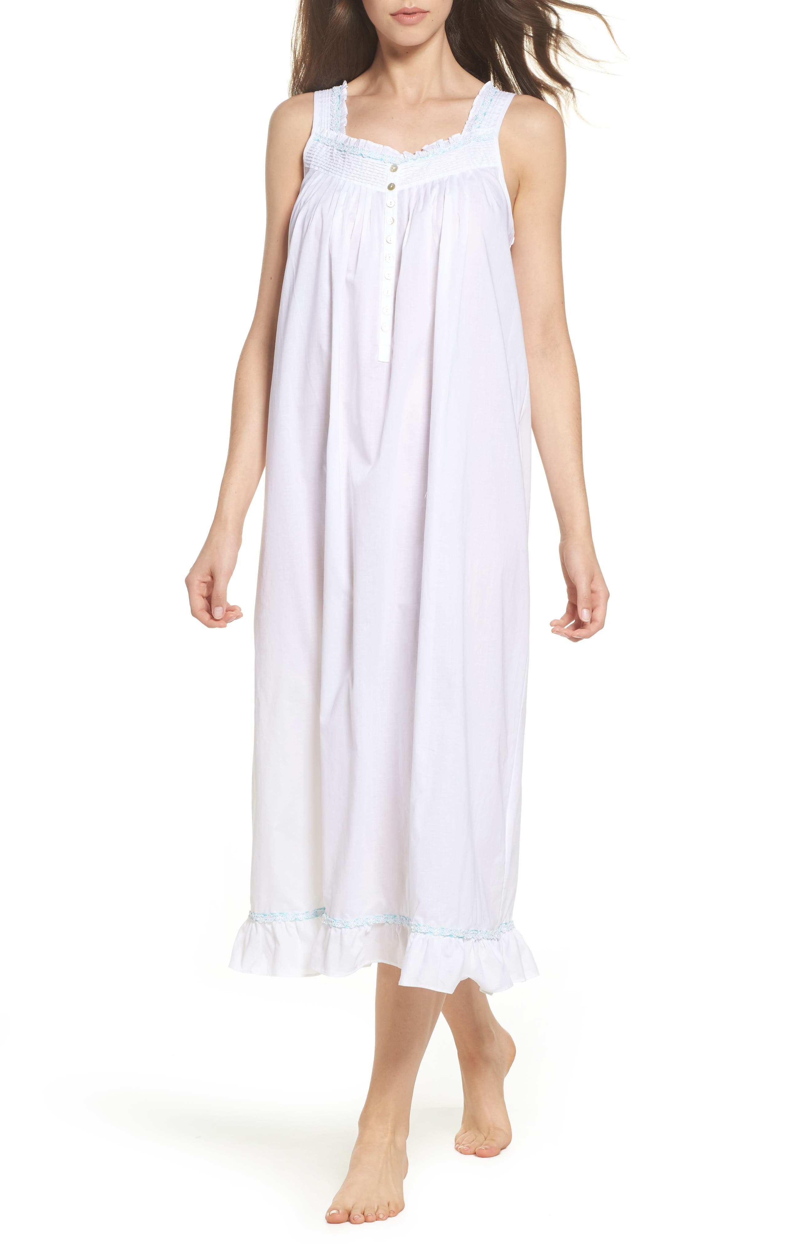 Cotton Lawn Ballet Nightgown,                             Main thumbnail 1, color,                             Solid White