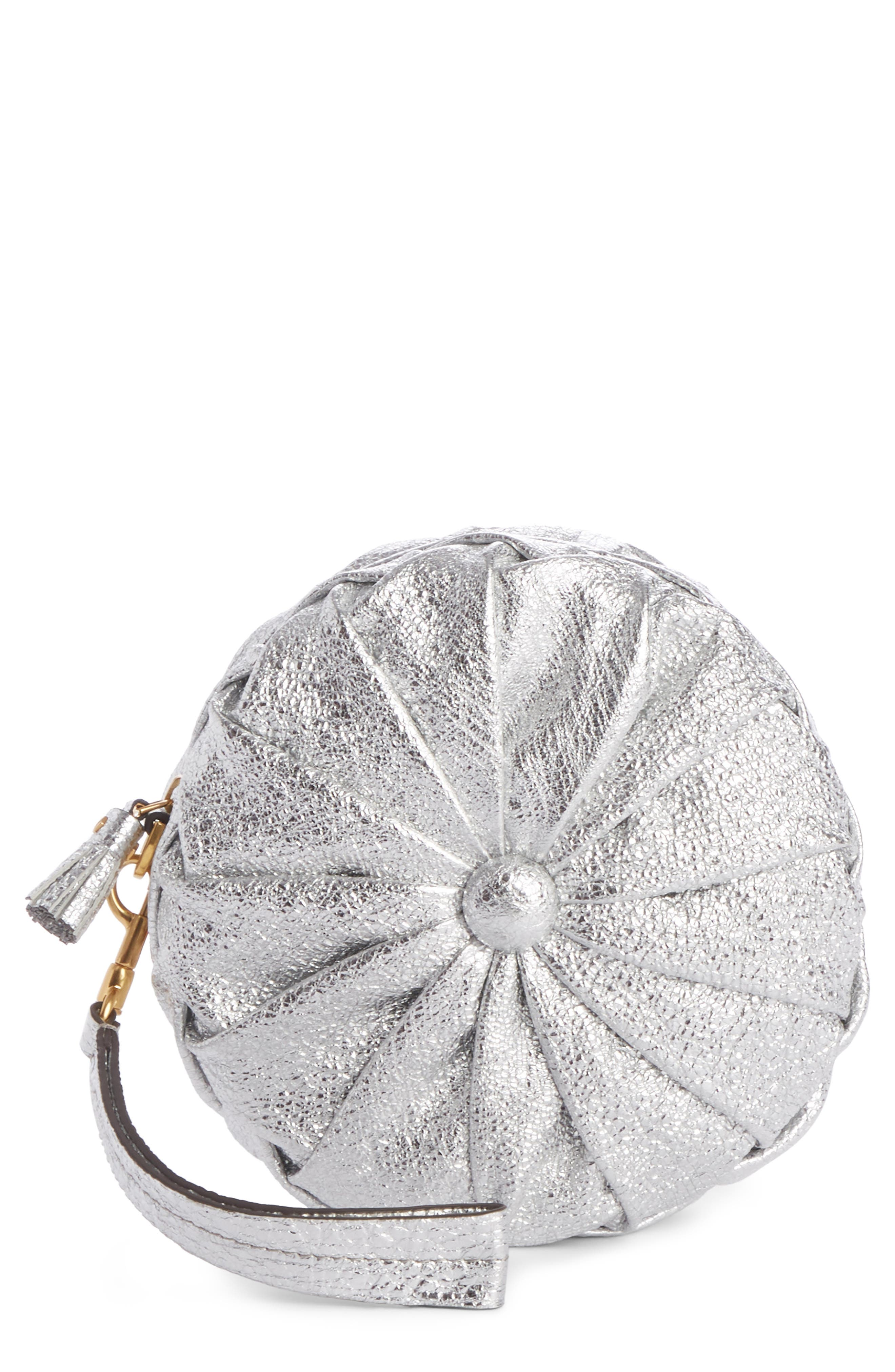 Circle Pillow Metallic Leather Clutch,                         Main,                         color, Silver