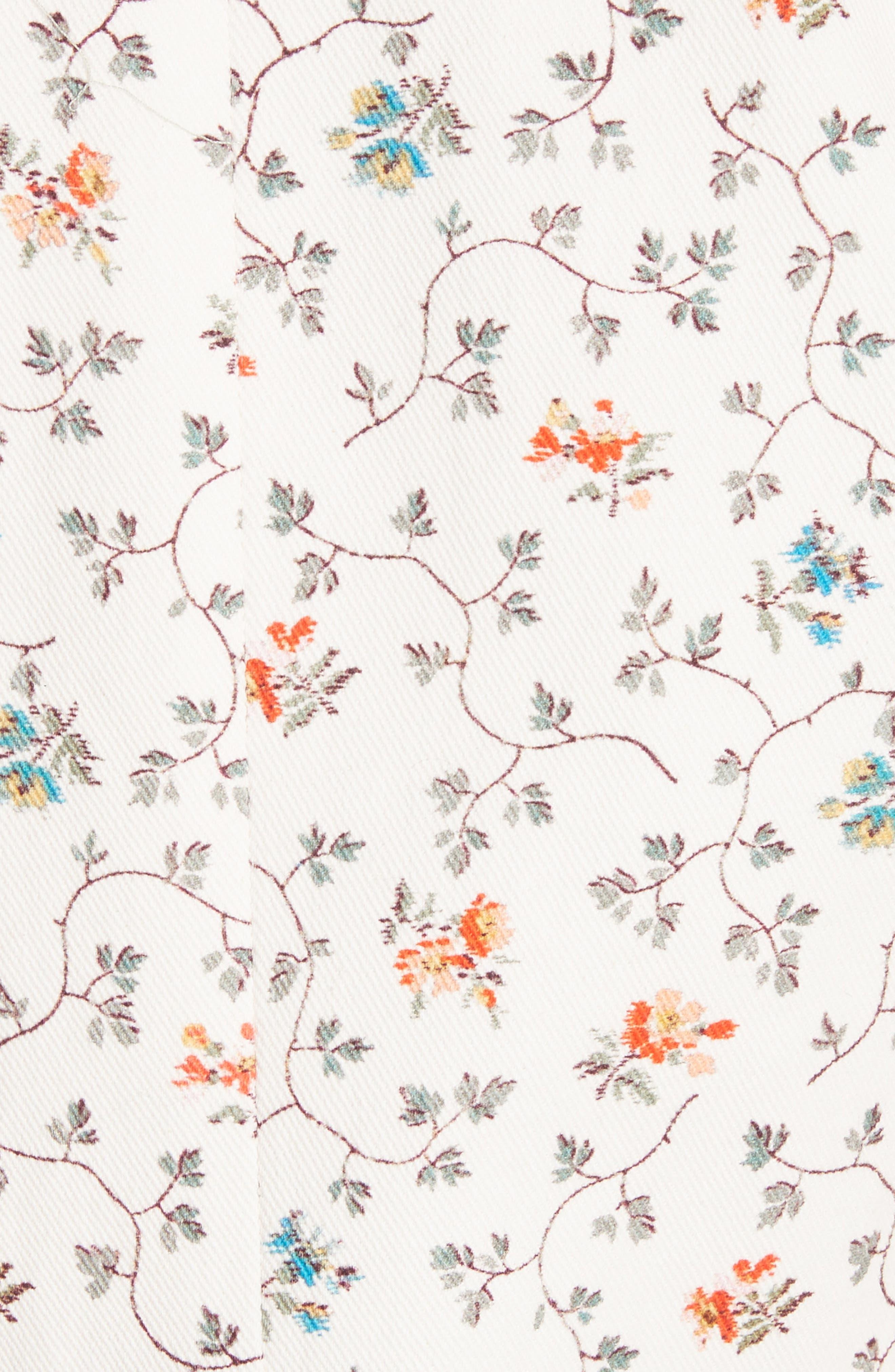 Floral Vine Twill Jacket,                             Alternate thumbnail 5, color,                             Vanilla